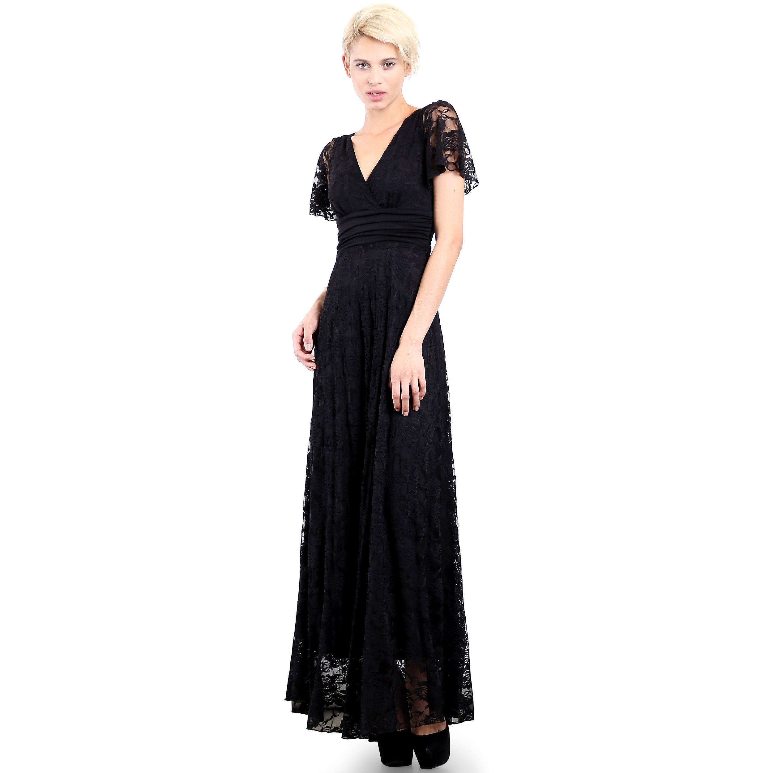 2499bf73ddbb Shop Evanese Women's Elegant Lace Evening Party Formal Long Dress Gown with Empire  Waist Full Skirt and Short Sleeves - Free Shipping Today - Overstock - ...