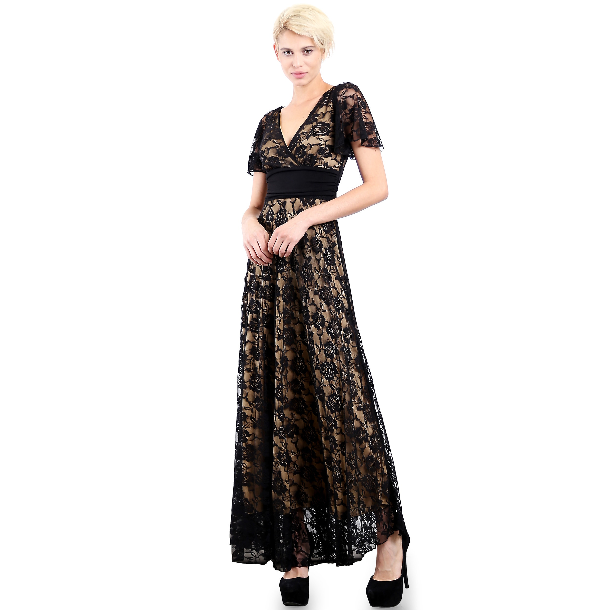 ef6808738a2 Shop Evanese Women s Elegant Lace Evening Party Formal Long Dress Gown with  Empire Waist Full Skirt and Short Sleeves - Free Shipping Today - Overstock  - ...