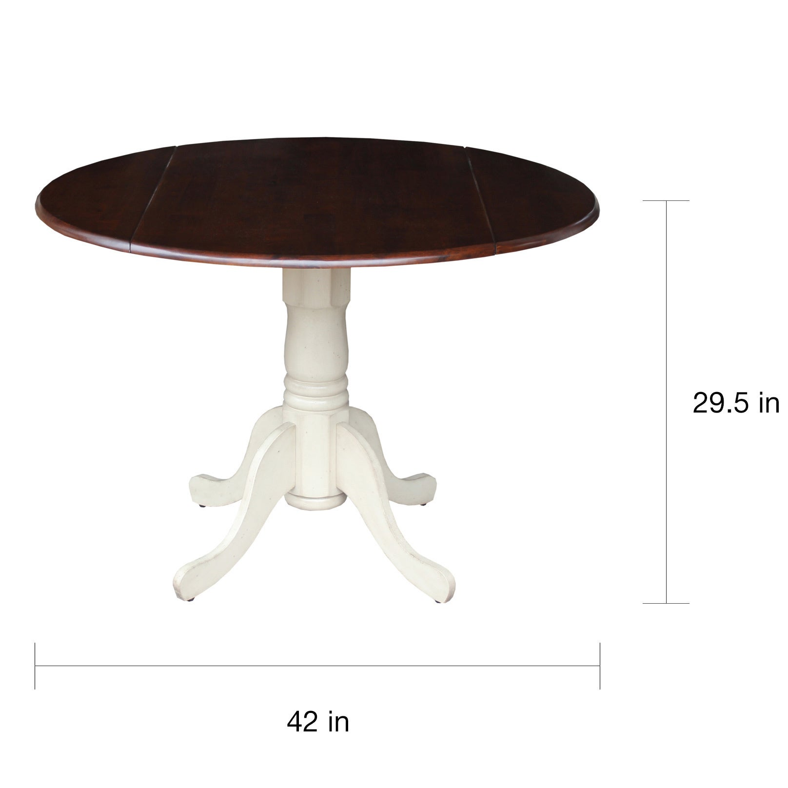International Concepts Antique White and Espresso Wood 42 inch Round