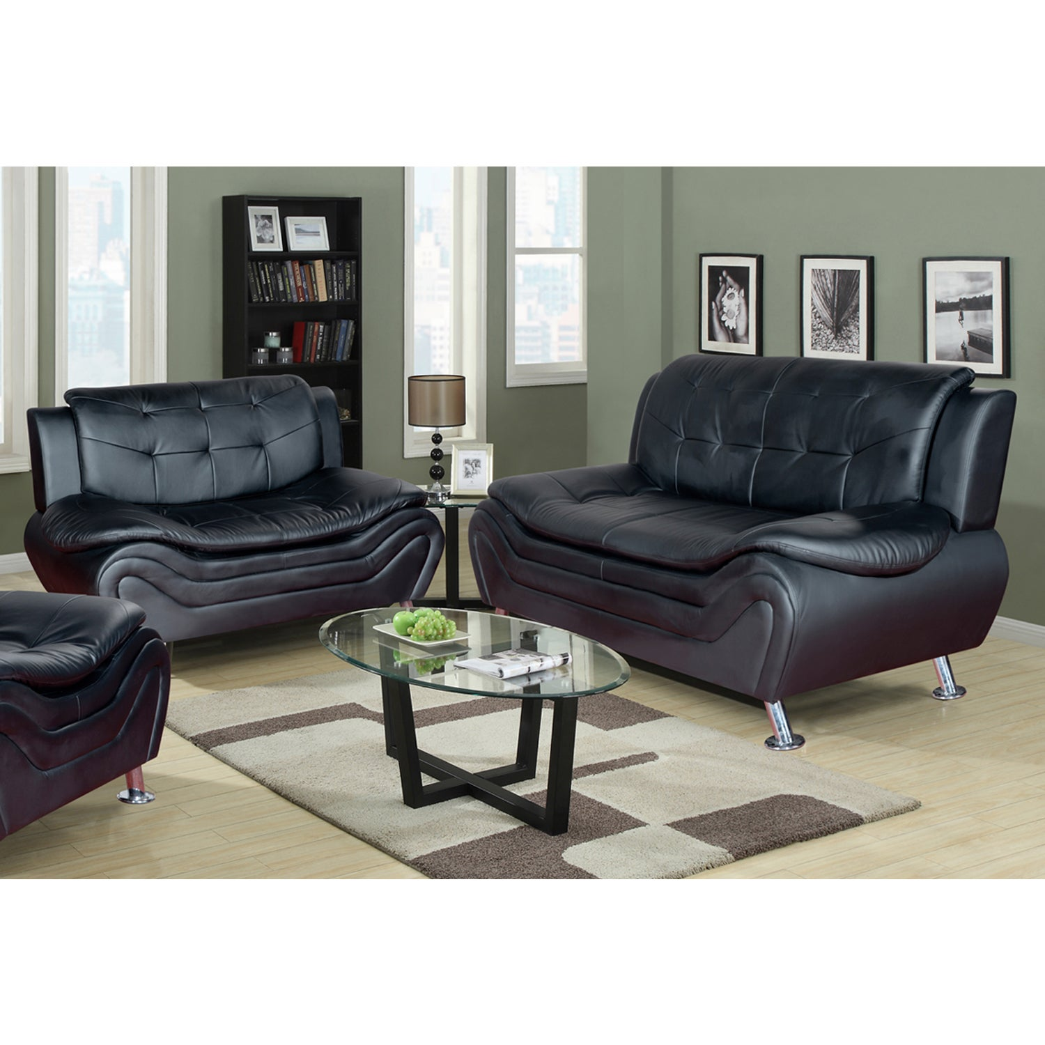 Ethel Contemporary Modern Black Faux Leather Living Room Sofa Set Free Shipping Today 12980817