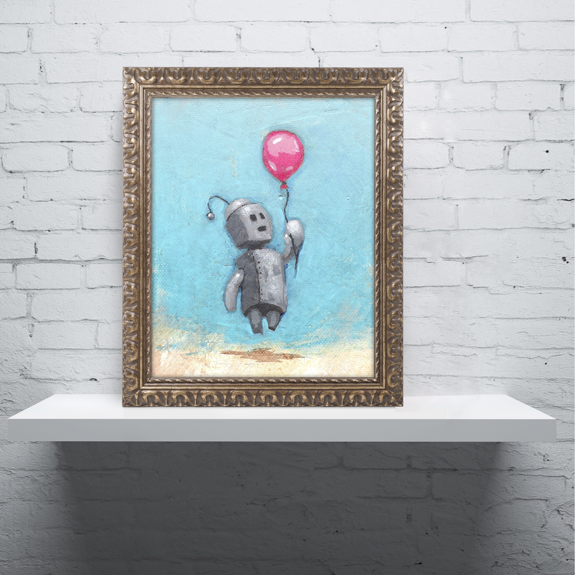 Shop Craig Snodgrass \'Robot With Red Balloon\' Ornate Framed Art - On ...