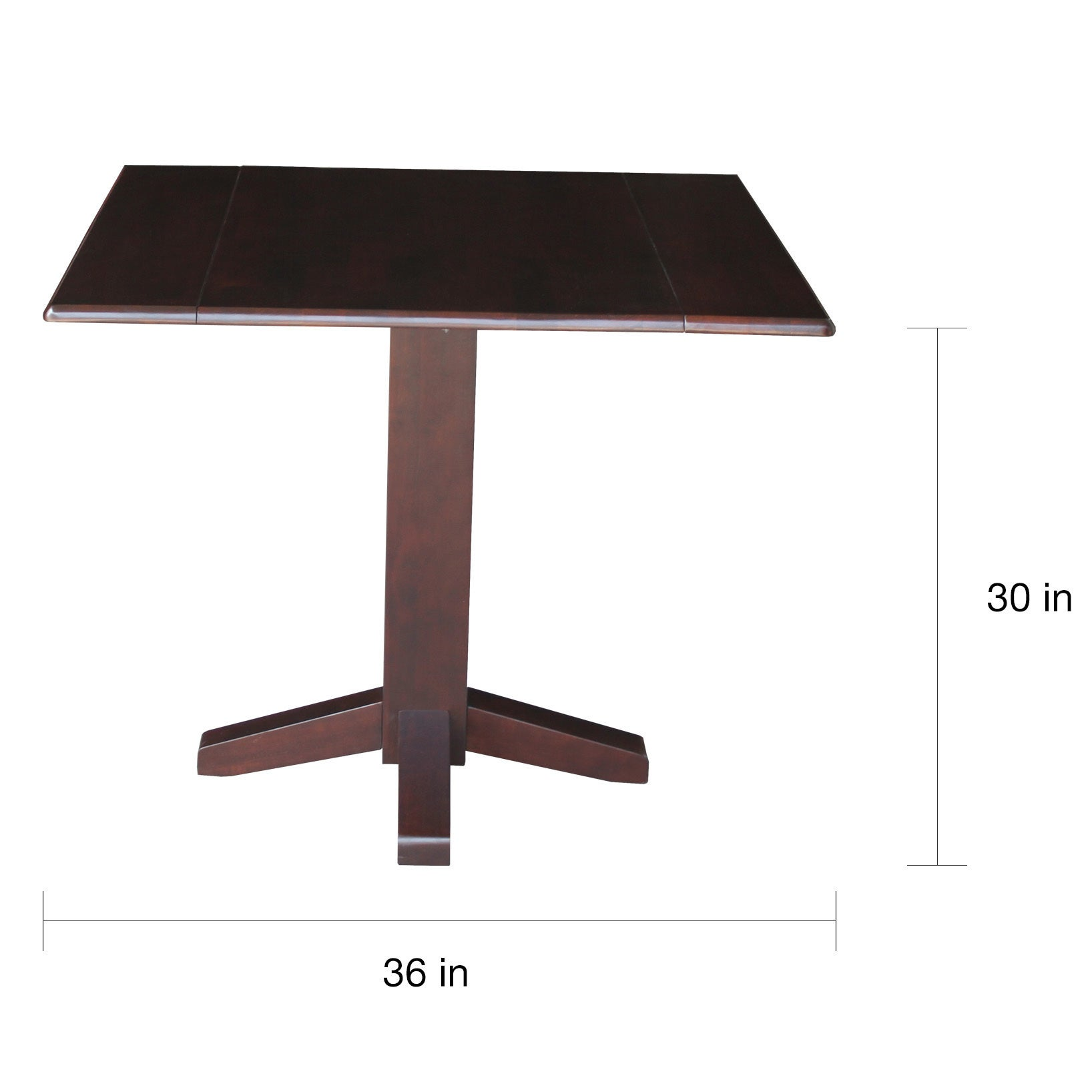 International Concepts Brown Wood 36 Inch Square Dual Drop Leaf