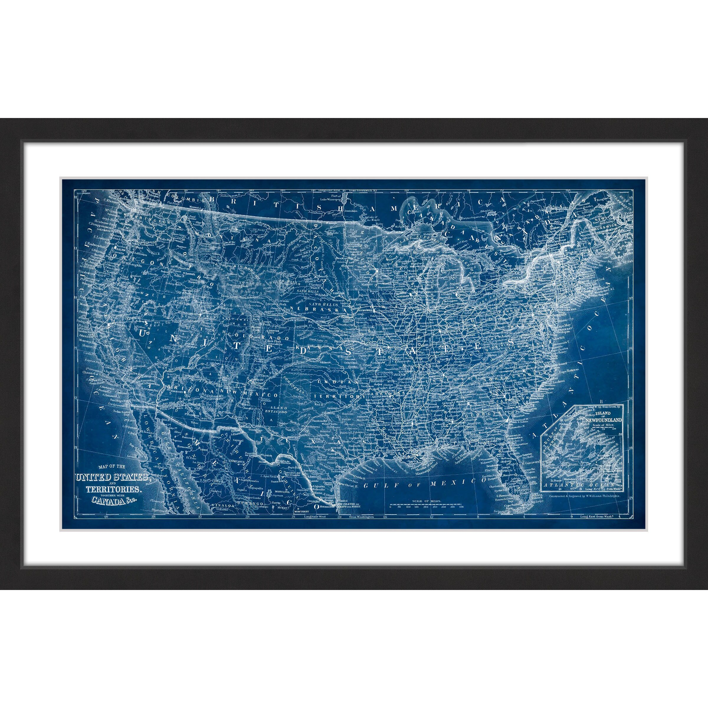 Marmont hill us map blueprint framed painting print free marmont hill us map blueprint framed painting print free shipping today overstock 19729511 malvernweather Image collections
