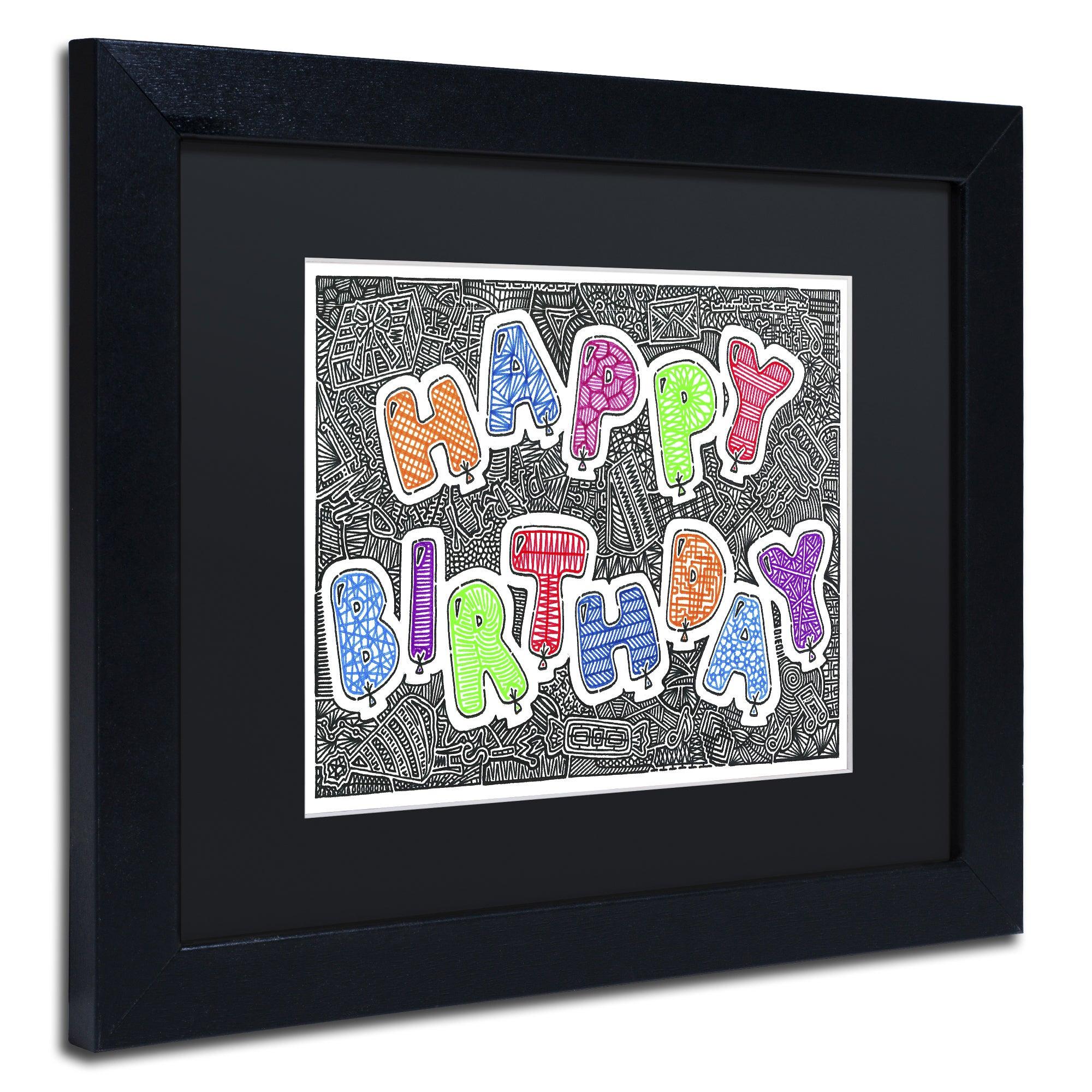 Viz Art Ink Birthday Balloons Matted Framed
