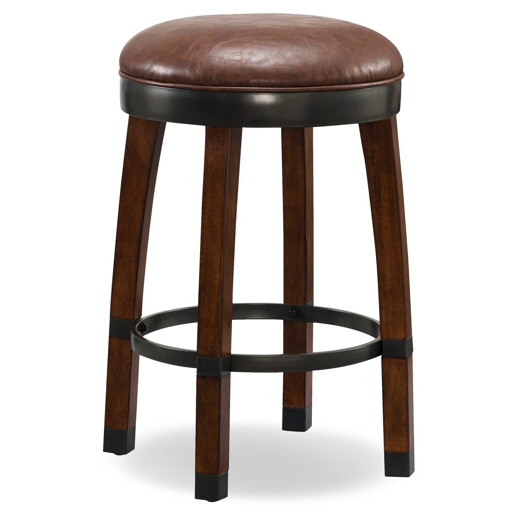 Shop wood cask stave counter height stool with faux leather seat set of 2 by kd furnishings free shipping today overstock com 12984160