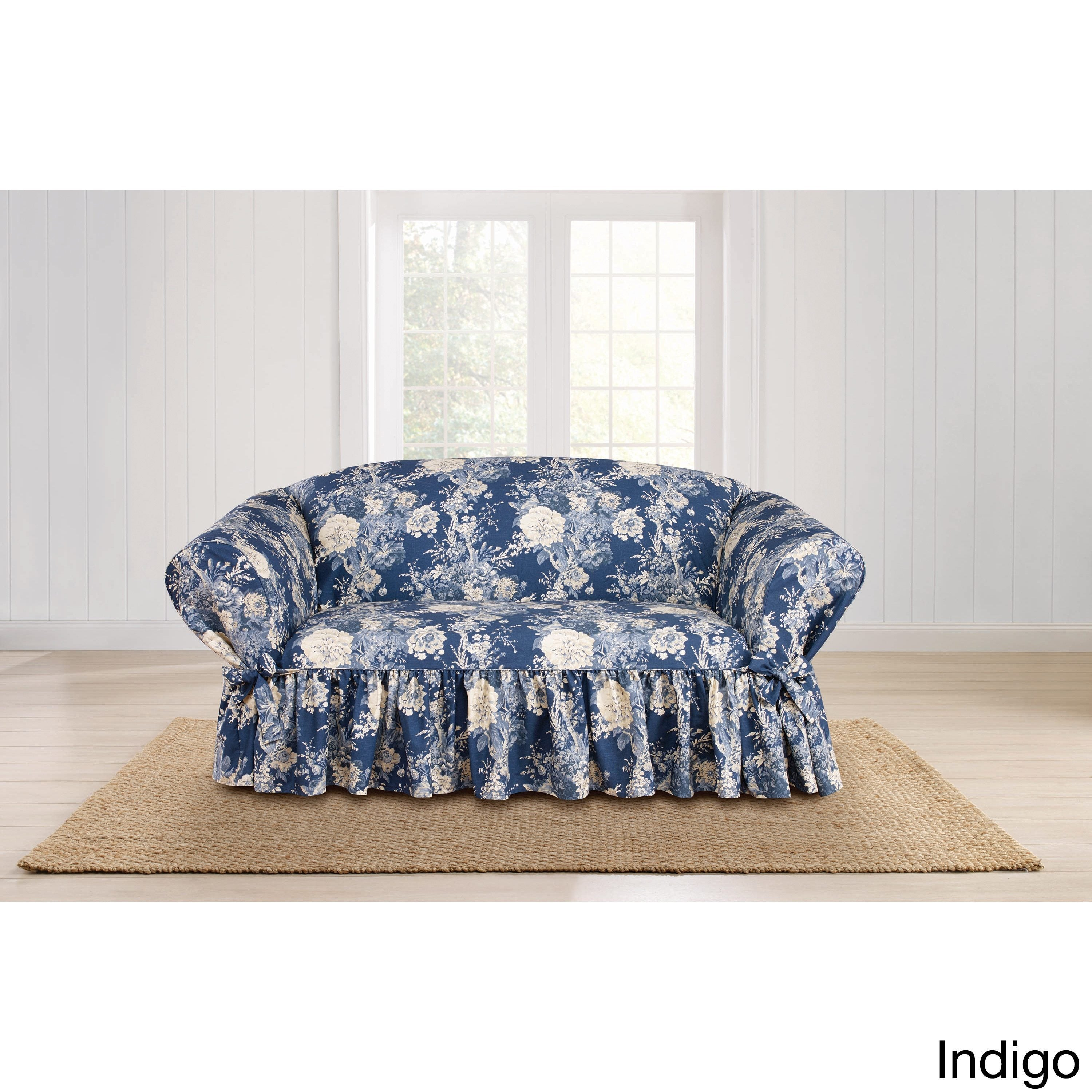 sure fit ballad bouquet loveseat skirted slipcover free shipping
