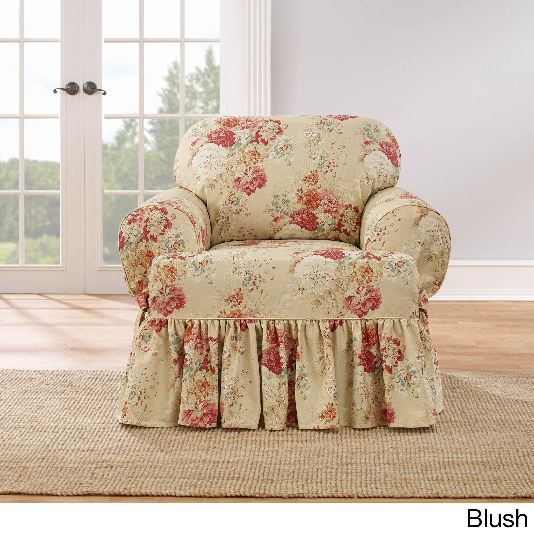 Sure Fit Ballad Bouquet Armchair T Cushion Skirted Slipcover   Free  Shipping Today   Overstock   19736990