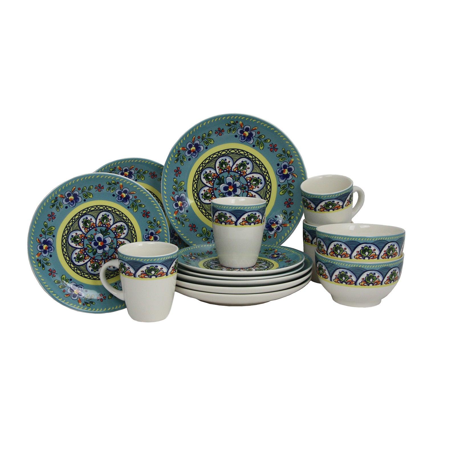 Elama Santa Fe Springs Multicolored Stoneware 16-piece Dinnerware Set - Free Shipping Today - Overstock - 19737094  sc 1 st  Overstock & Elama Santa Fe Springs Multicolored Stoneware 16-piece Dinnerware ...