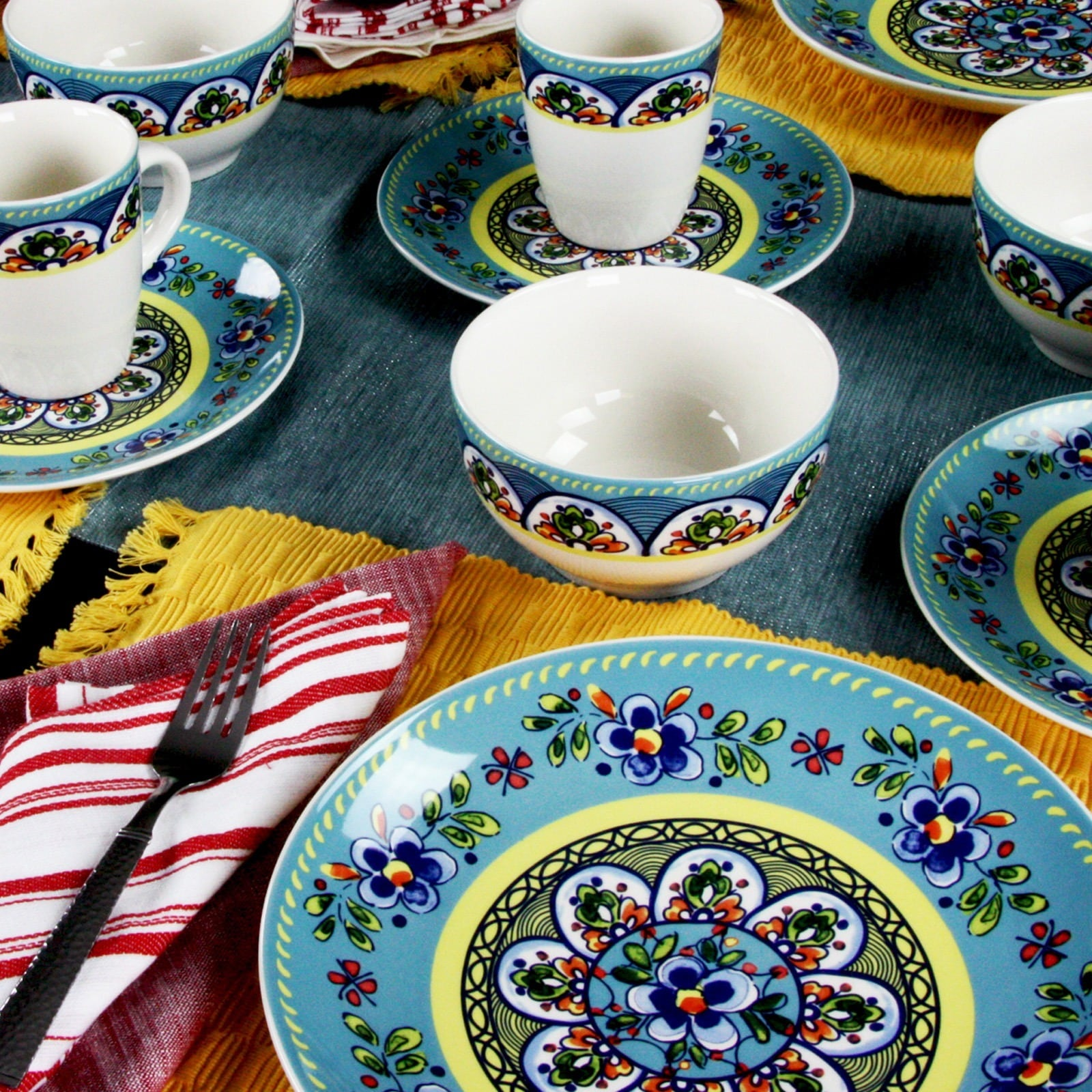Shop Elama Santa Fe Springs Multicolored Stoneware 16-piece Dinnerware Set - Free Shipping Today - Overstock.com - 12990746 & Shop Elama Santa Fe Springs Multicolored Stoneware 16-piece ...