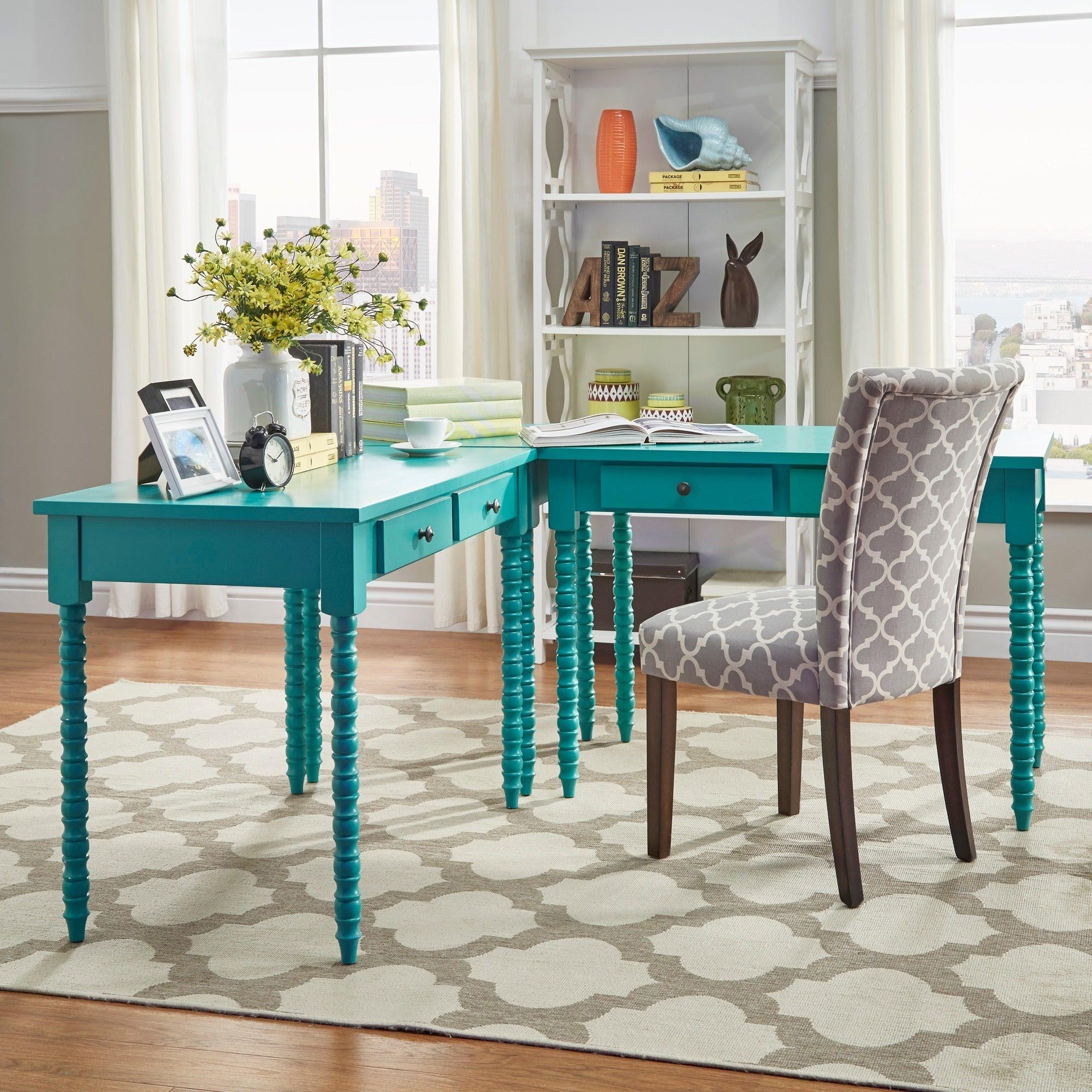 Shop Lyndale L-Shaped Helix Legs Corner Office Desk by iNSPIRE Q ...