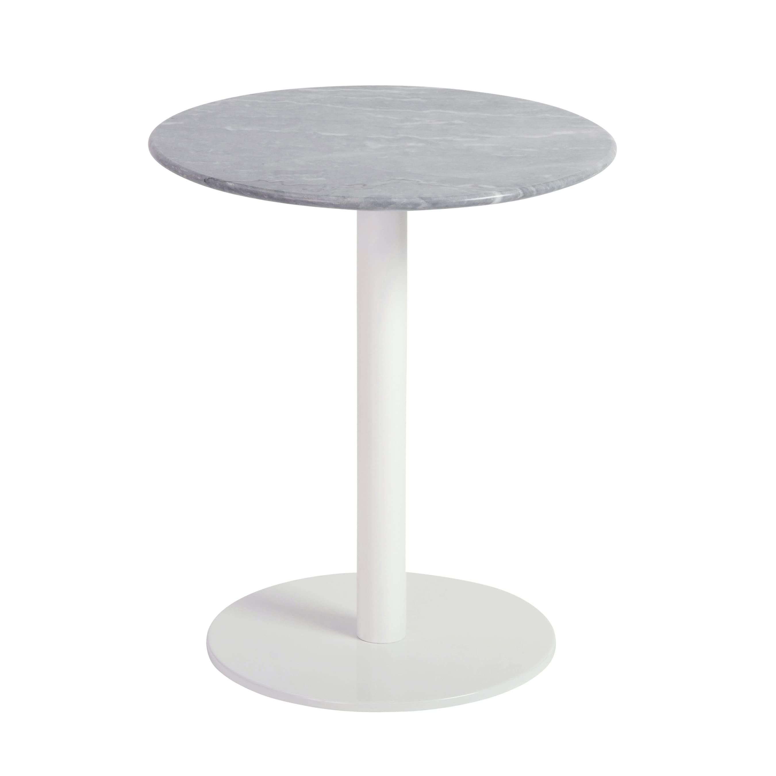 Shop tammy powder coated white base grey marble steel round side table free shipping today overstock com 12991502