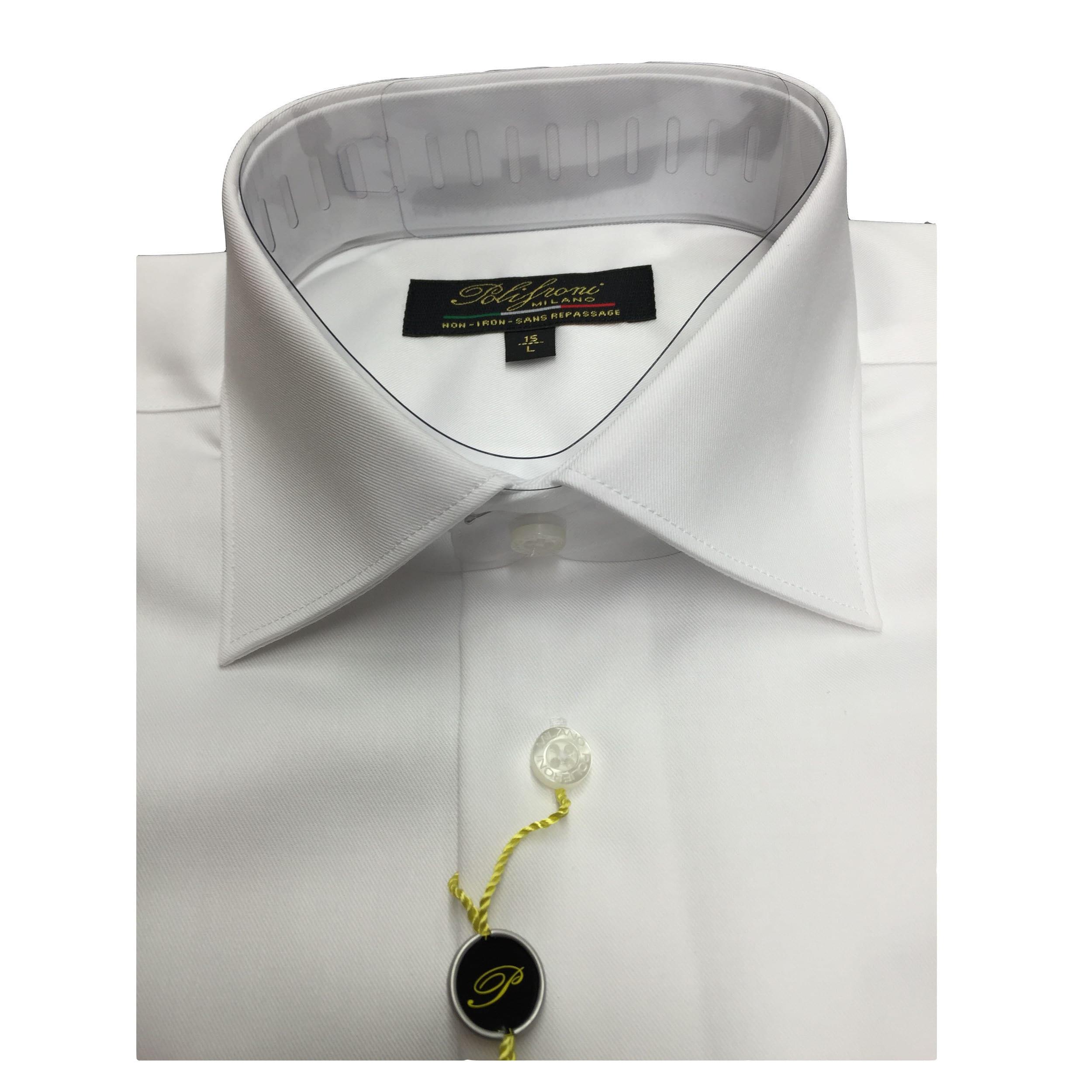 Shop Polifroni Mens White Cotton Dress Shirt Free Shipping Today
