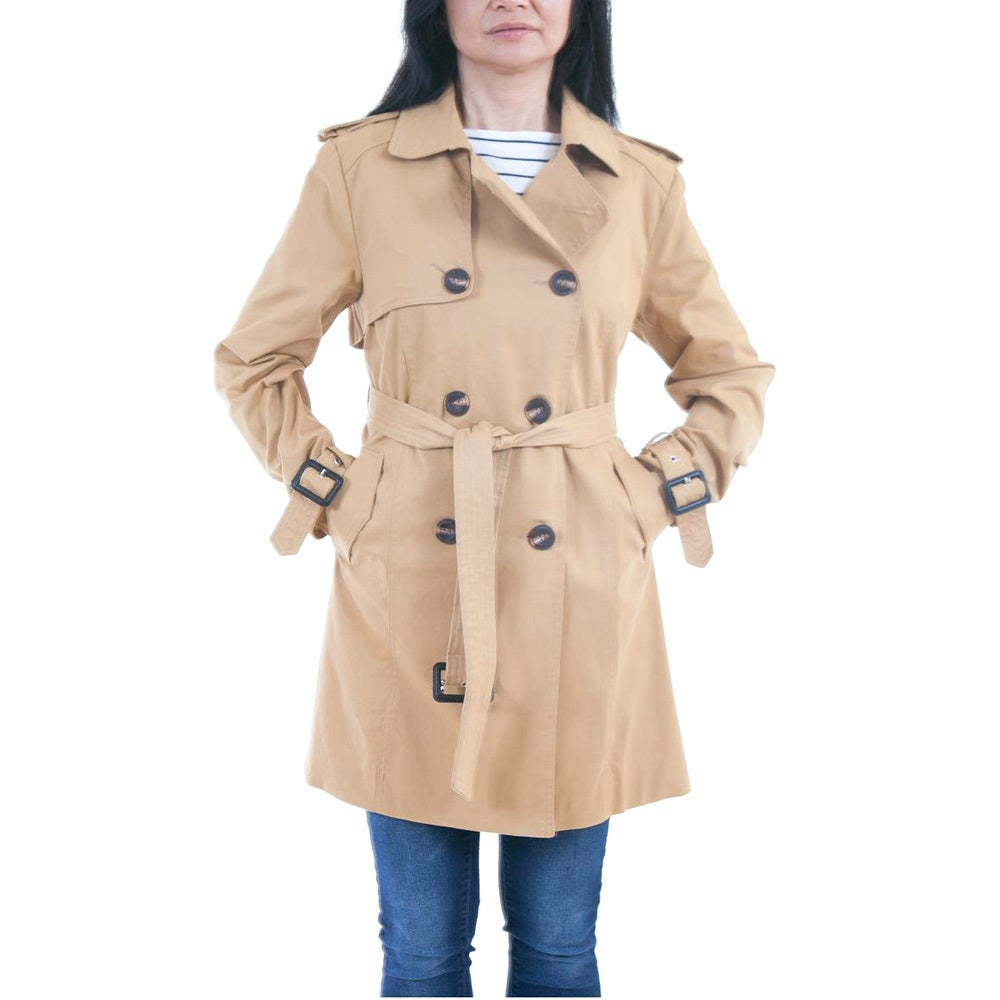 0105017ea83 Shop Lee Cobb Women s Cotton Double-breasted Trench Coat - Free Shipping  Today - Overstock.com - 13000438