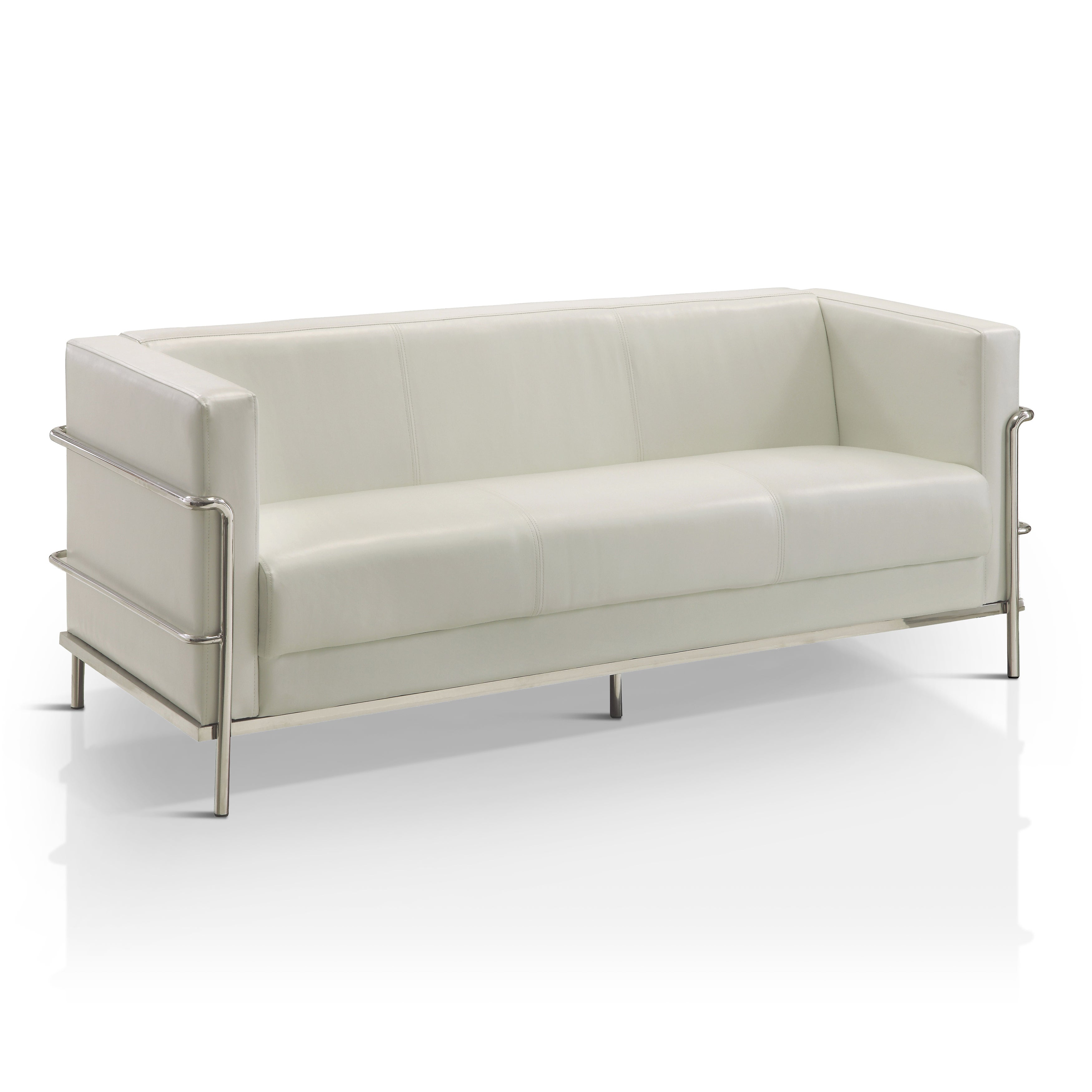 Shop Furniture Of America Sonica Contemporary Tuxedo Style Leatherette Sofa    Free Shipping Today   Overstock.com   13000757