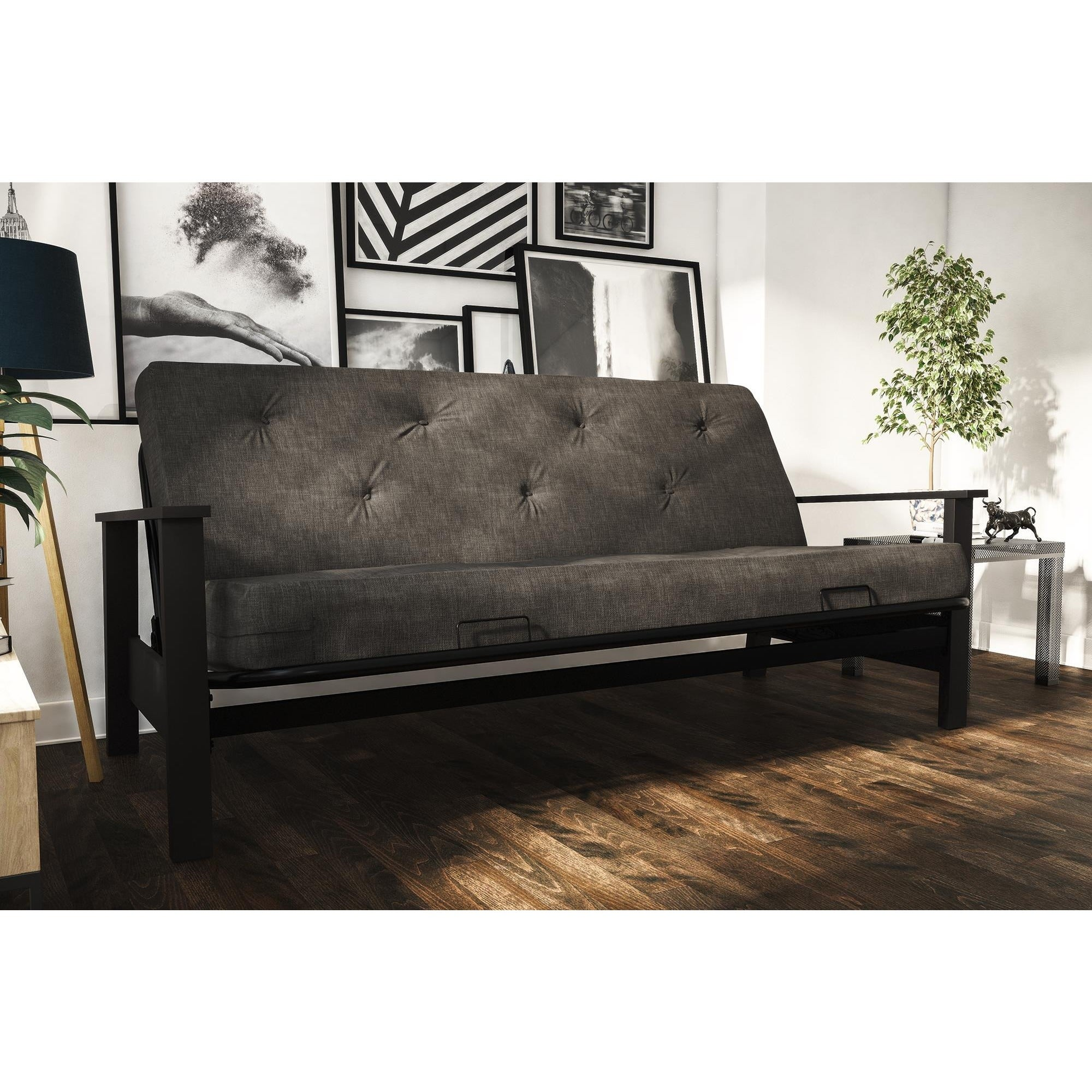 Avenue Greene Bria Wood Arm Futon With 6 Inch Coil Linen Mattress Free Shipping Today Com 13000999