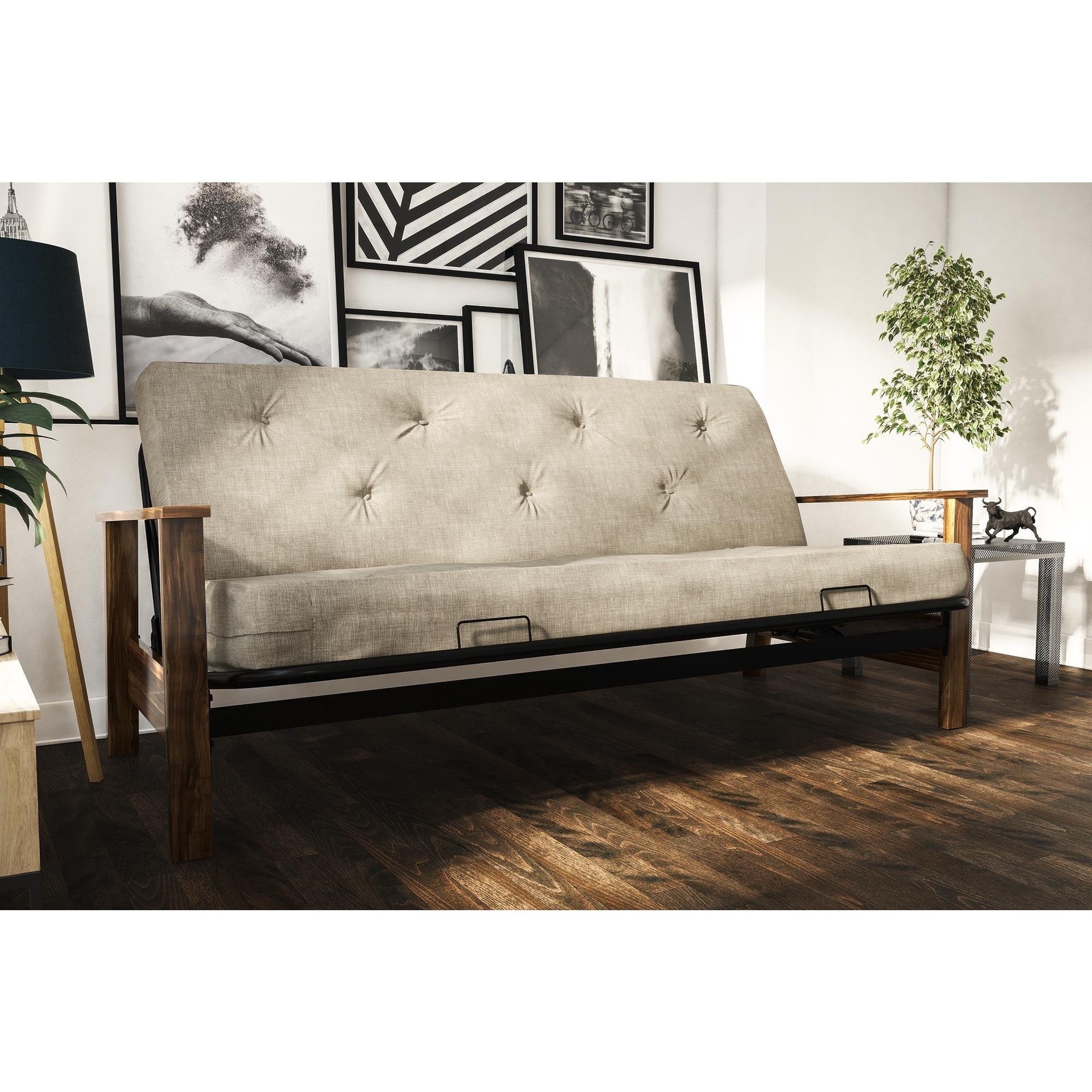 DHP Bergen Wood Arm Futon with 6 inch Coil Linen Mattress Free