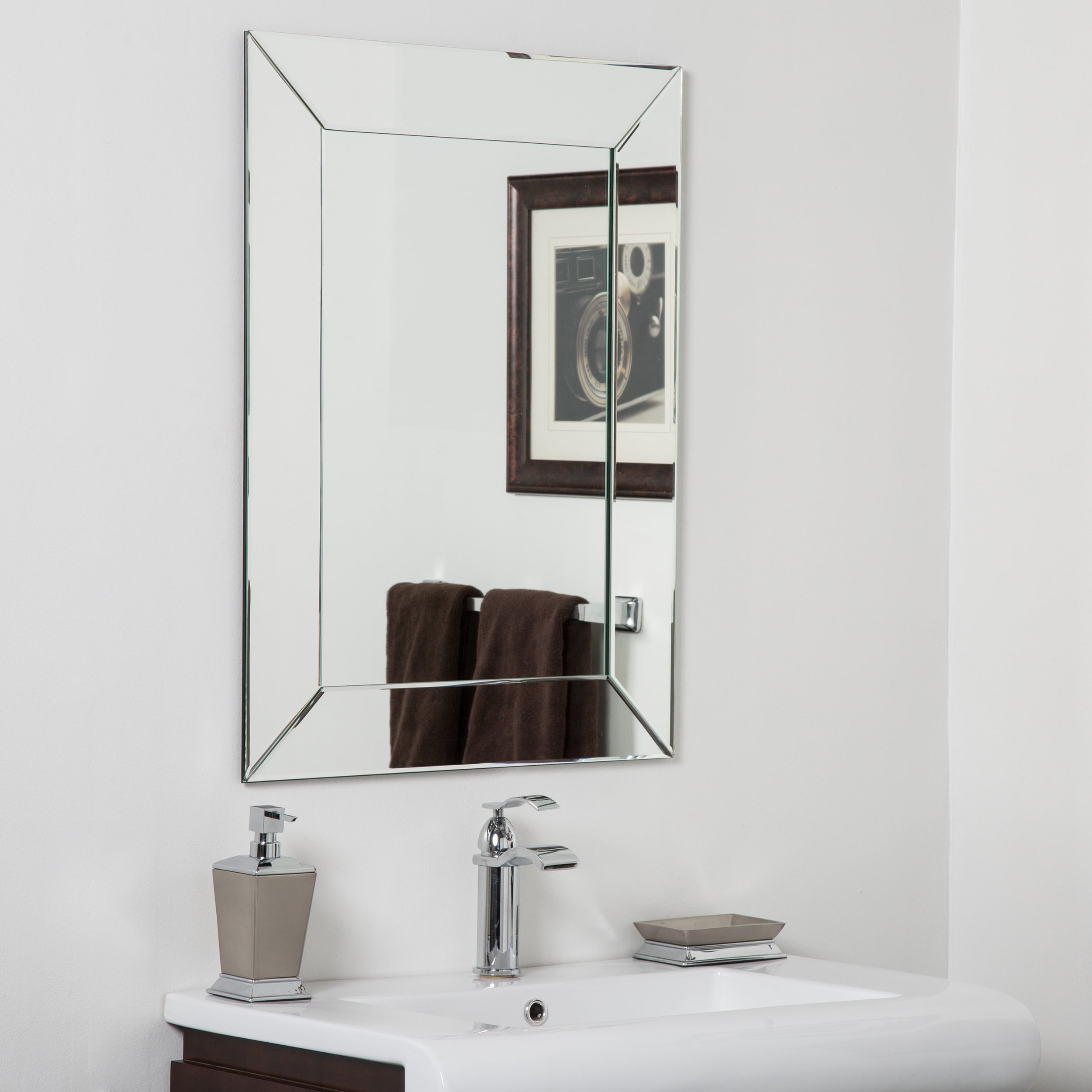 Shop avie modern clear glass frameless bathroom mirror free shipping today overstock com 13002500