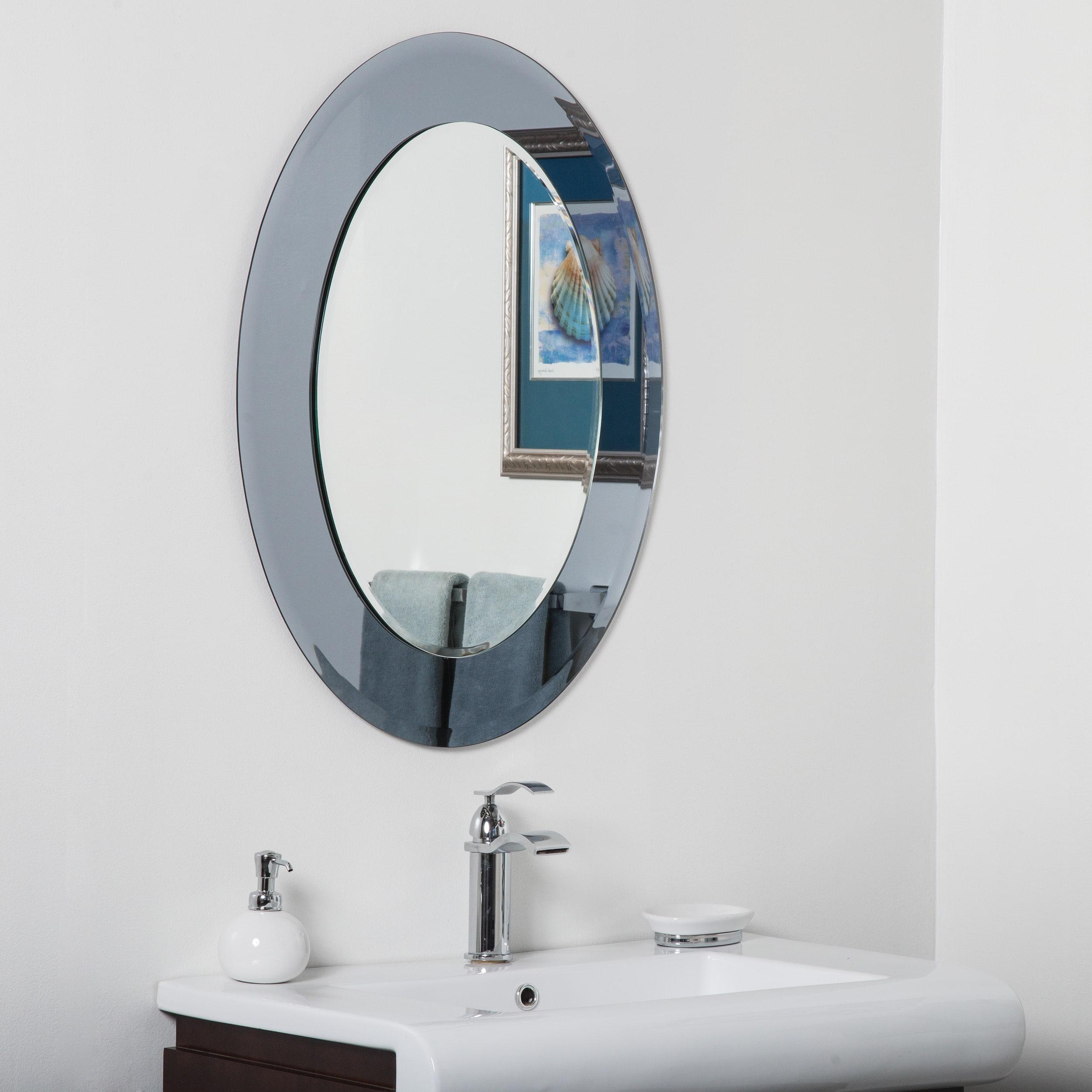 Shop Cayman Glass Beveled Round Bathroom Mirror - Grey/Silver - N/A ...