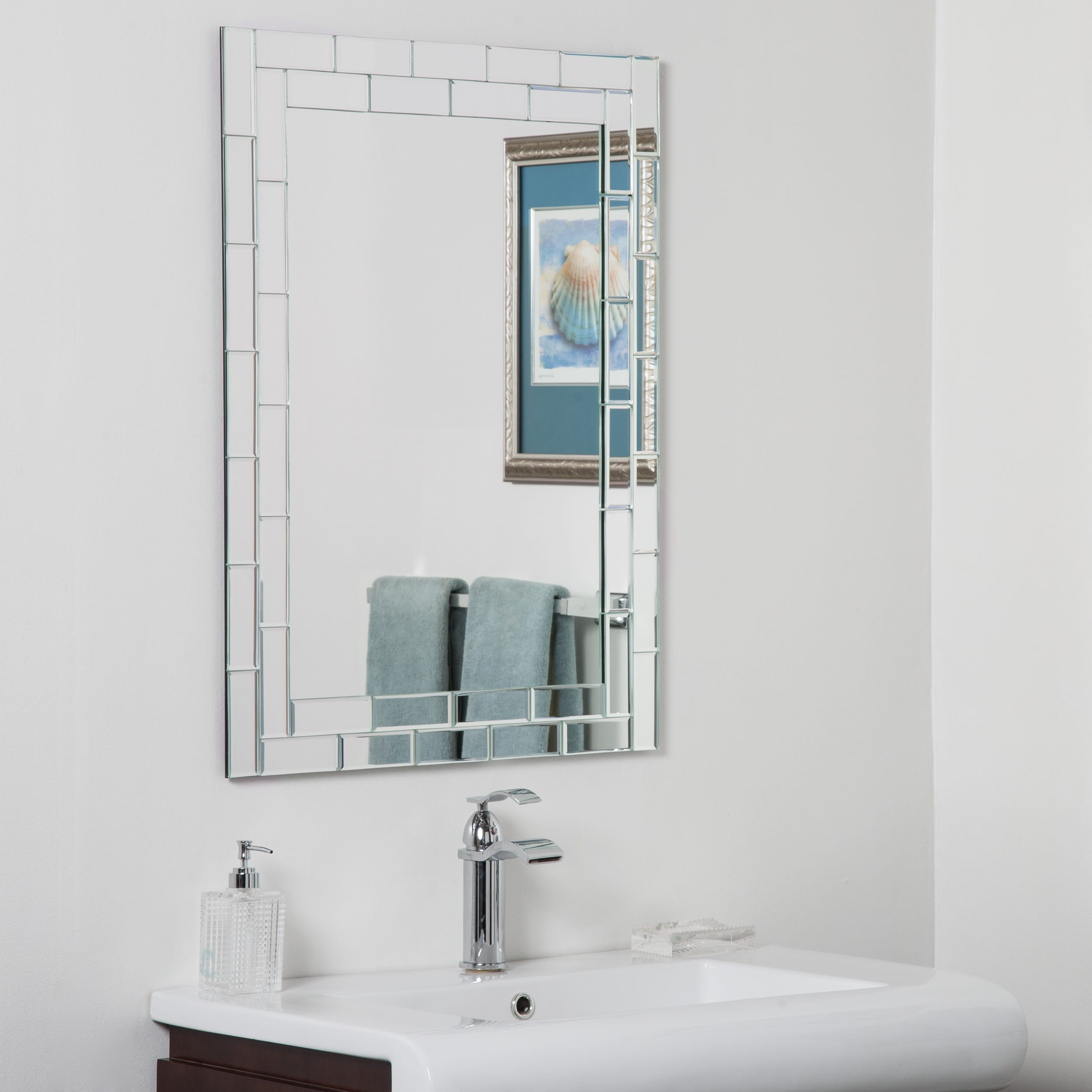 Shop Grand Street Beveled Glass Frameless Bathroom Mirror - Silver ...