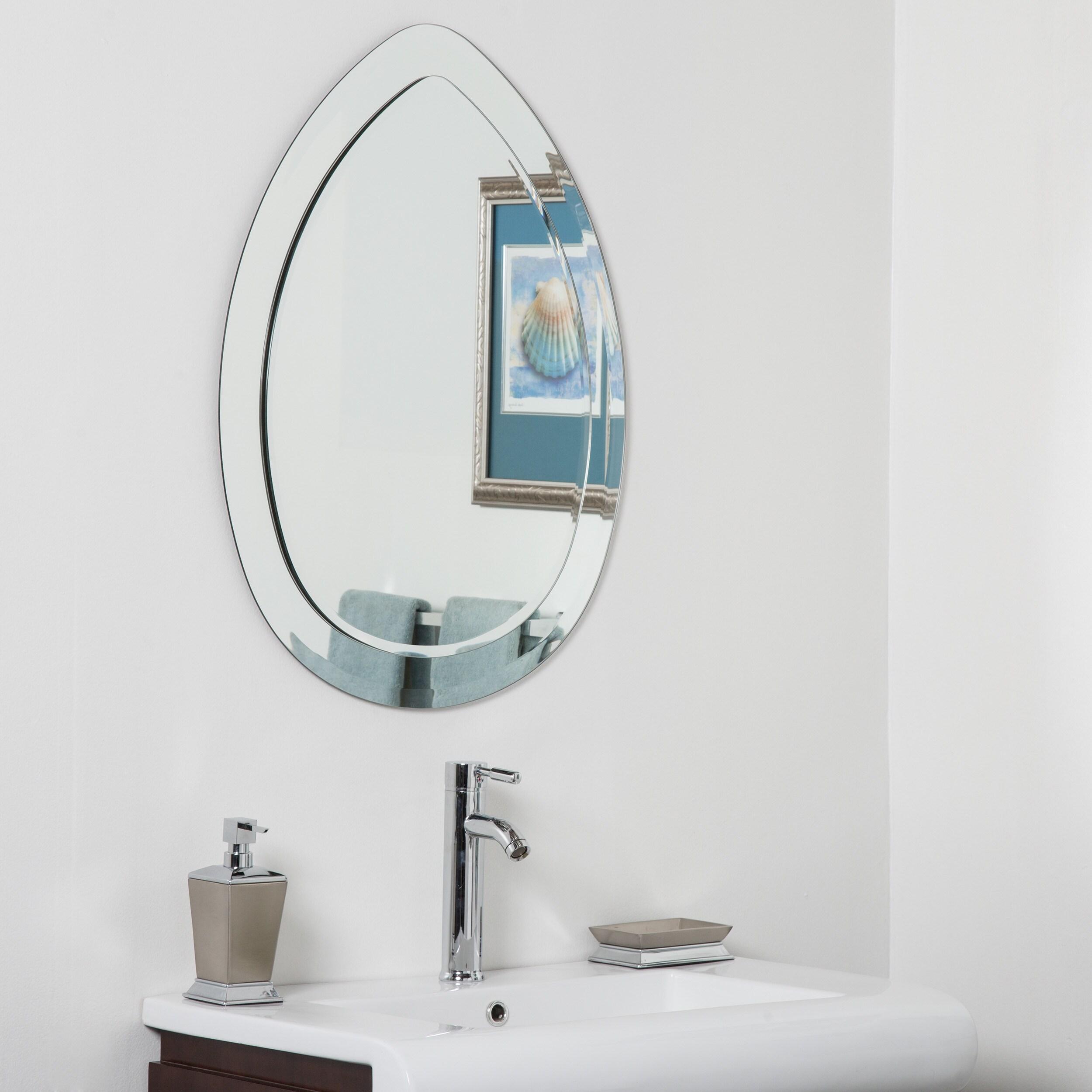 Shop Droplet Modern Bathroom Mirror - Silver - N/A - Free Shipping ...