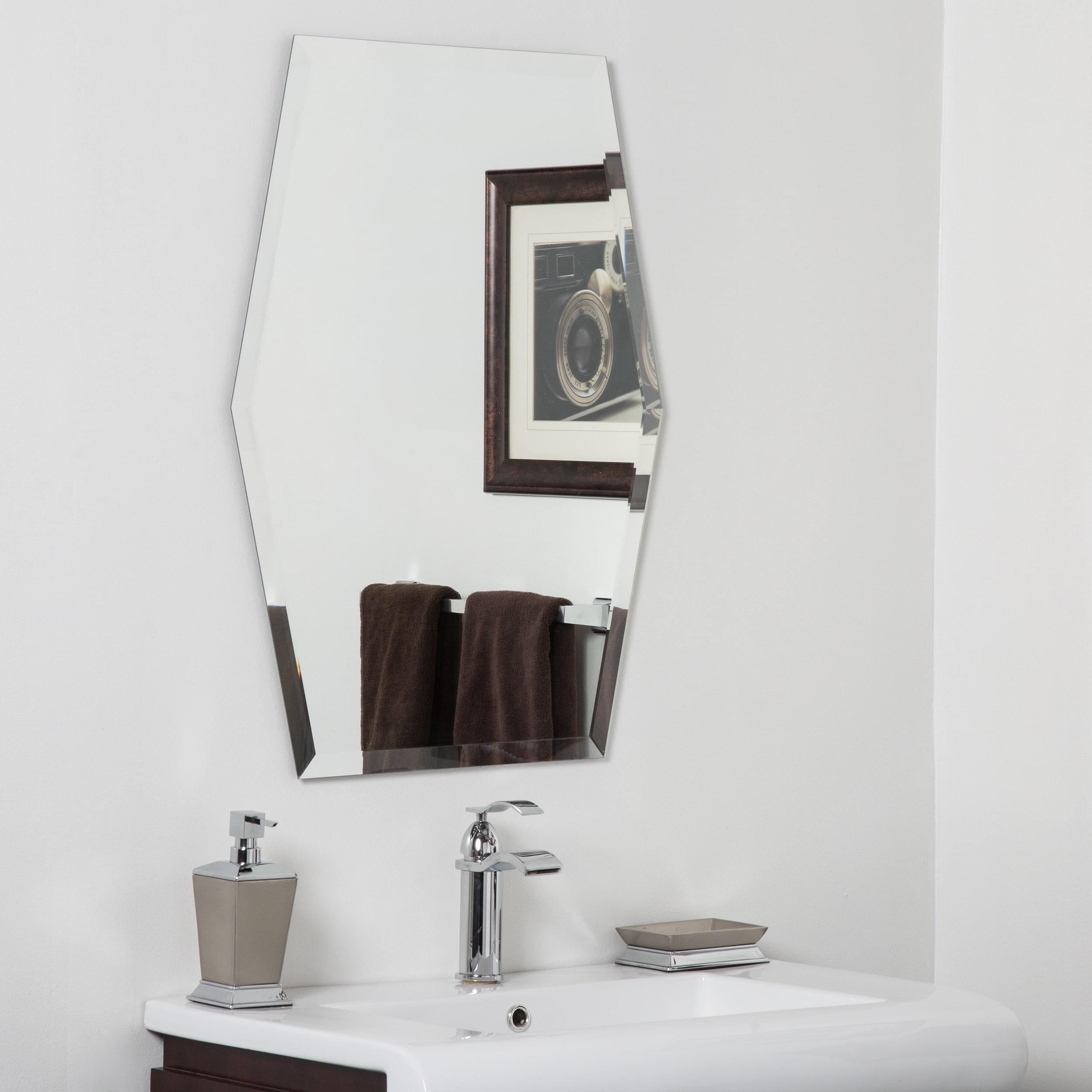 Century Clear Glass Modern Bathroom Mirror - Silver - N/A - Free ...