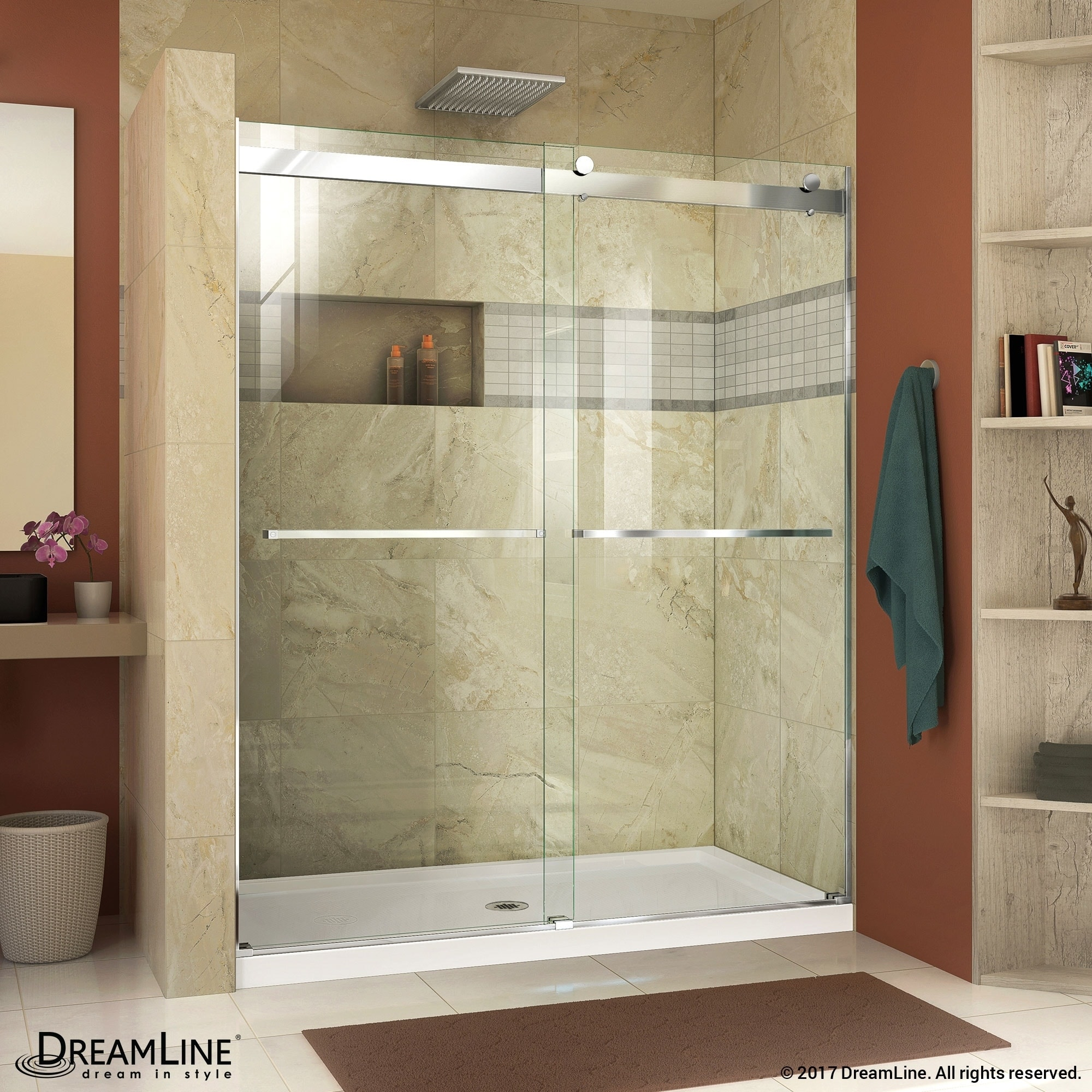 Shop DreamLine Essence 56-60 in. W x 76 in. H Frameless Bypass ...