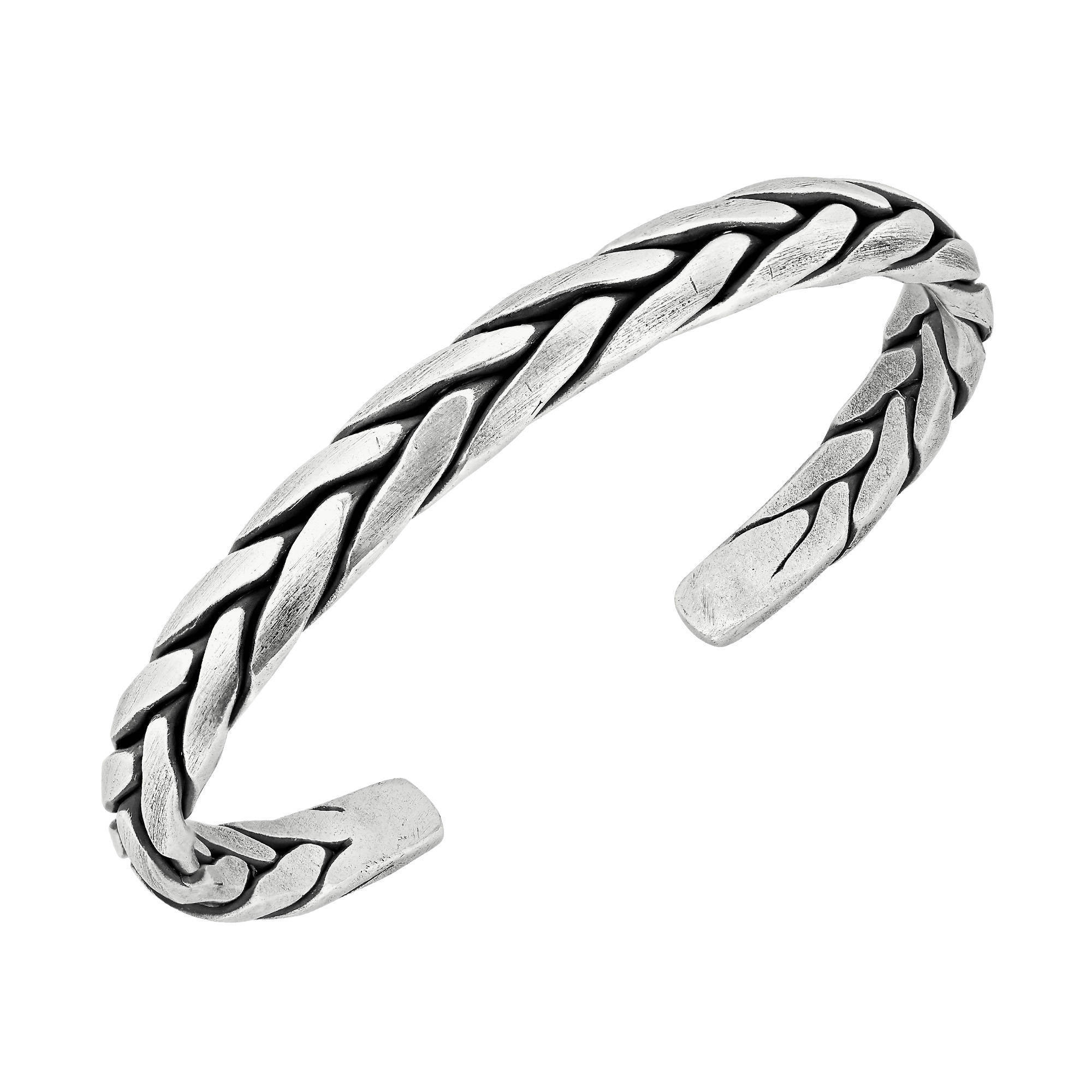 sterling bracelet silver handmade watches pure solid product jewelry thailand hand braided tribe karen free today hill overstock shipping cuff