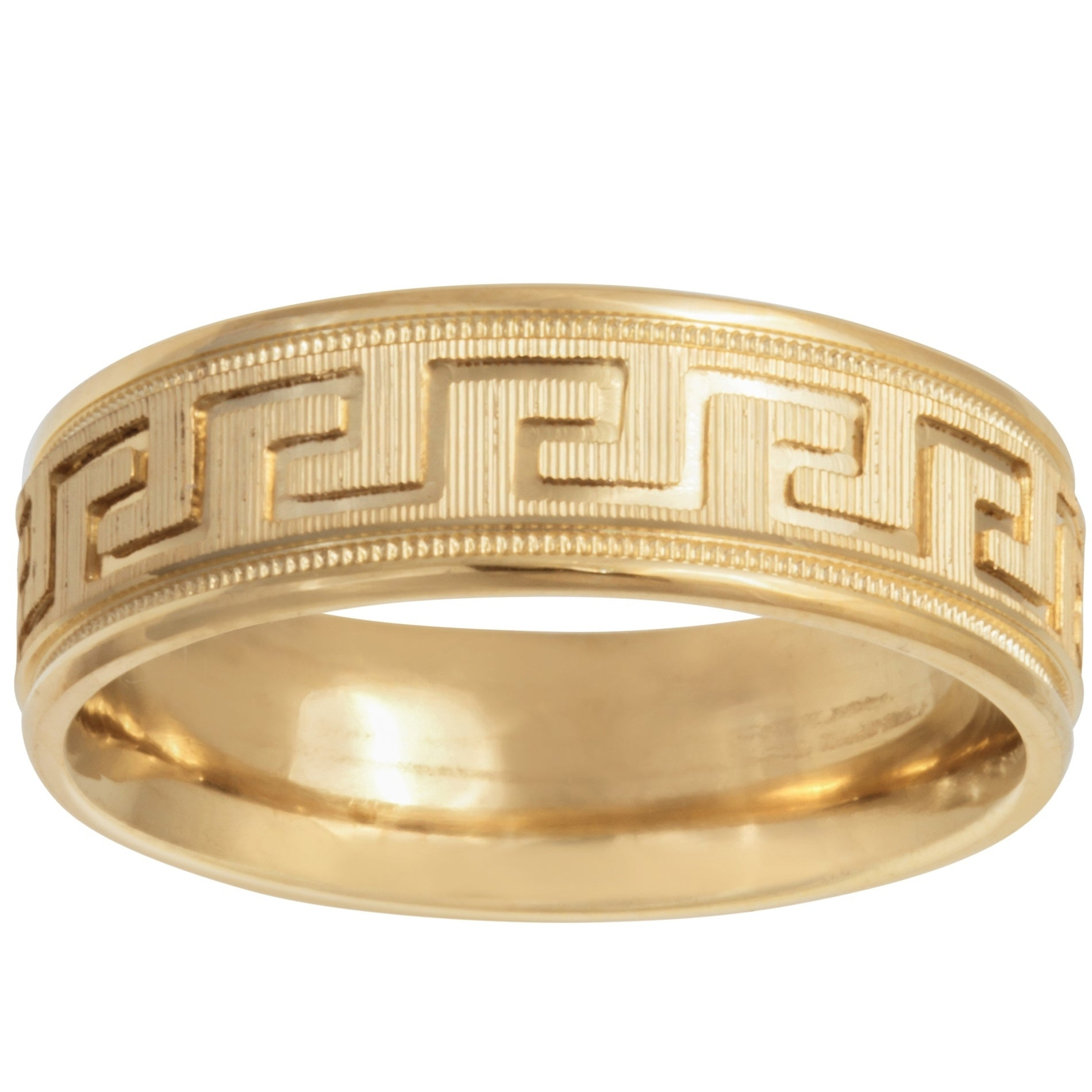 14k Gold Greek Key Design Comfort Fit Wedding Band On Free Shipping Today 13003837