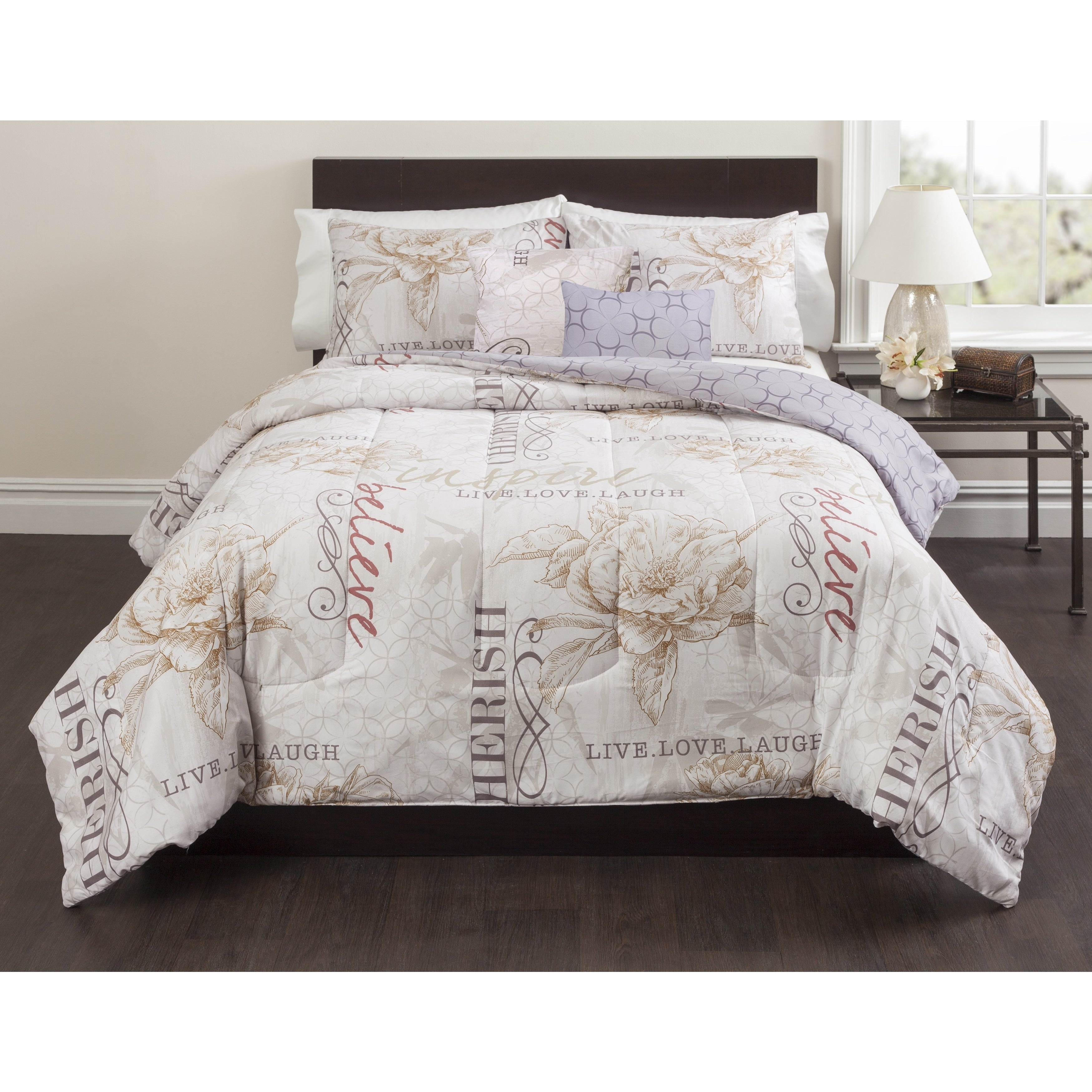Casa Live Laugh Love 5-piece Comforter Set - Free Shipping Today ...