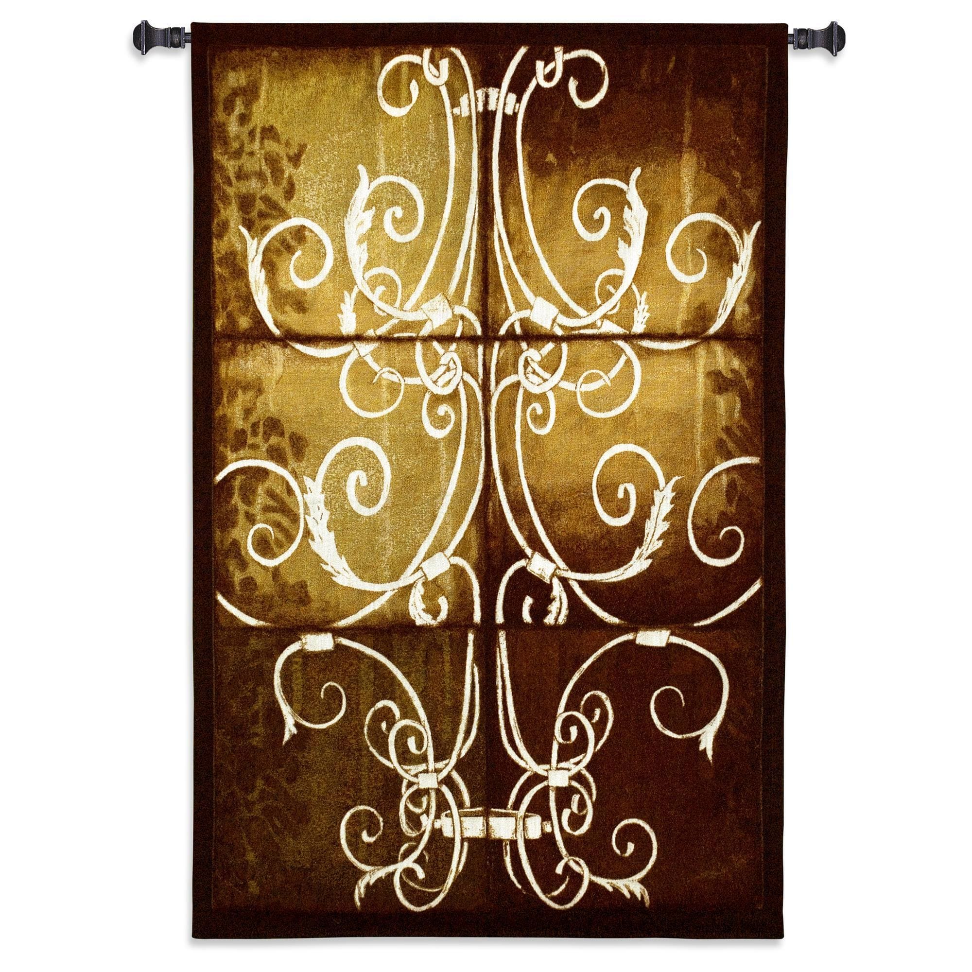Fine Art Tapestries Wrought Iron and Cotton Damask Wall Tapestry ...