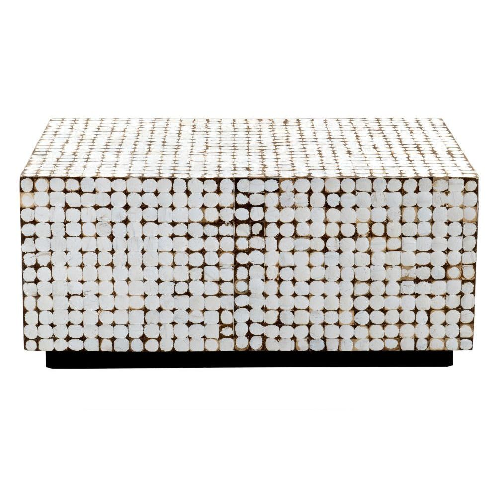 Delwood Coffee Table.East At Main S Dellwood White Coconut Shell Inlay Rectangle Coffee Table