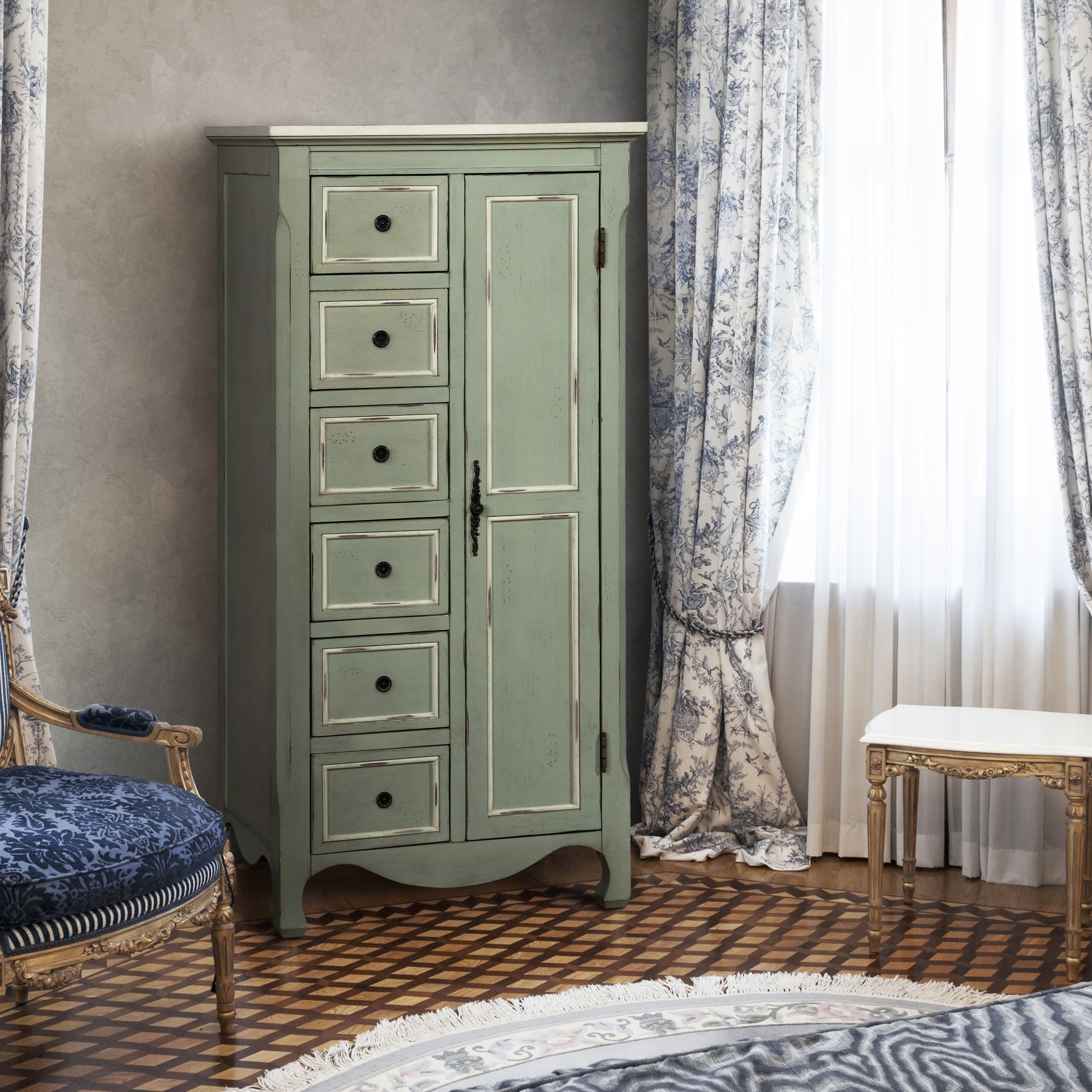 Furniture Of America Vintage Style Distressed Light Teal Multi Storage Floor Cabinet Free Shipping Today 13009025