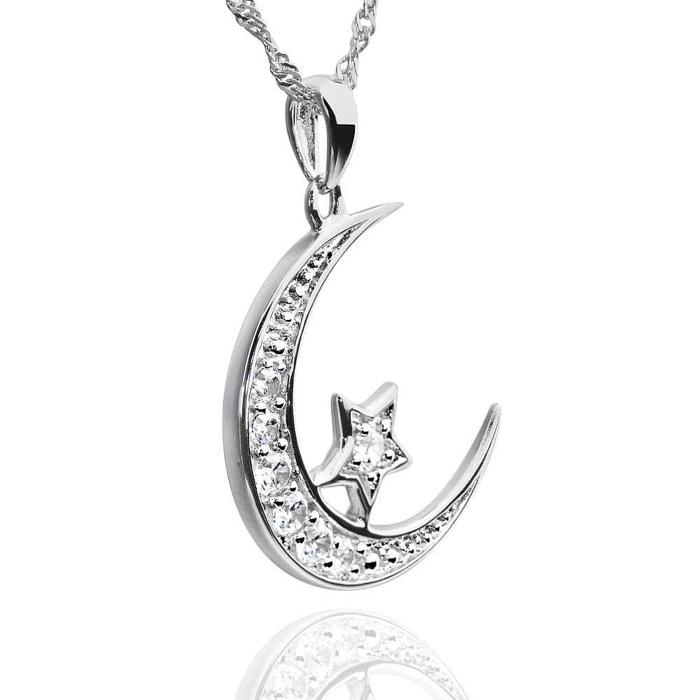 Sterling silver cubic zirconia crescent moon star pendant necklace sterling silver cubic zirconia crescent moon star pendant necklace free shipping on orders over 45 overstock 19753057 aloadofball Images