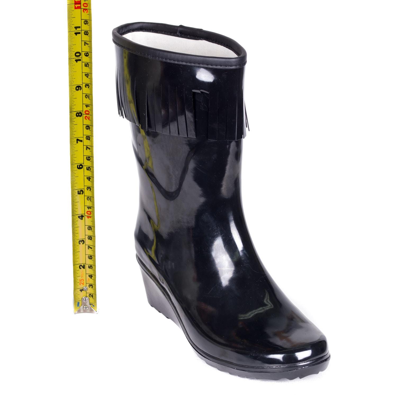 02a3a840aa74 Shop Women s Black Rubber Mid-calf Wedge-heel Tassel Rain Boots ...