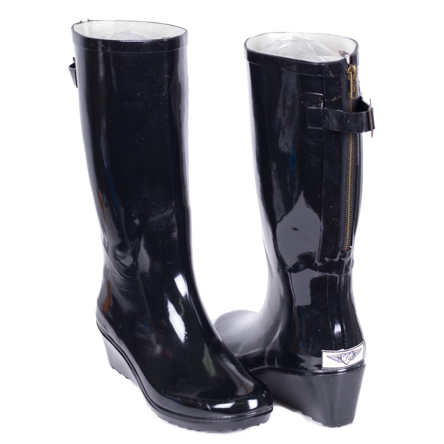 8e02147734d Forever Young Women's Black Rubber 14-inch Mid-calf Zipper Wedge Rain Boots