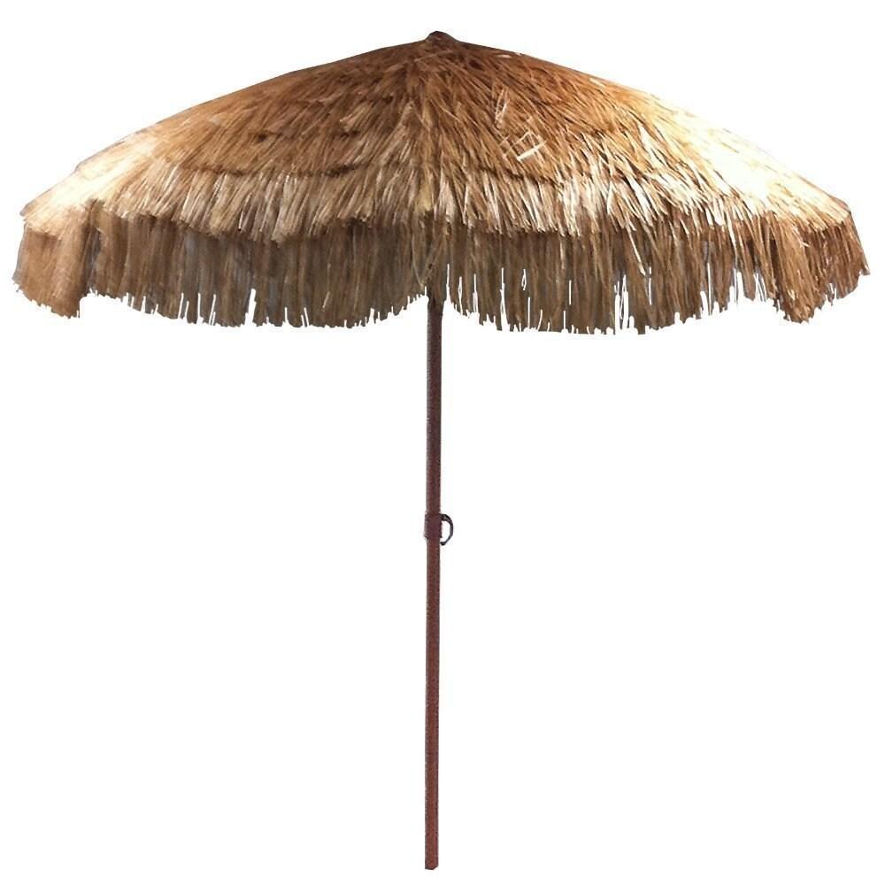 EasyGo Beige Plastic/Steel 8 Foot Thatch Patio Umbrella   Free Shipping  Today   Overstock.com   19768519