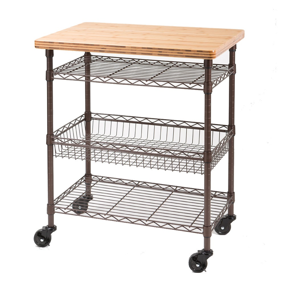 Seville Classics Kitchen Work Table Cart with Bamboo Top - Bronze ...