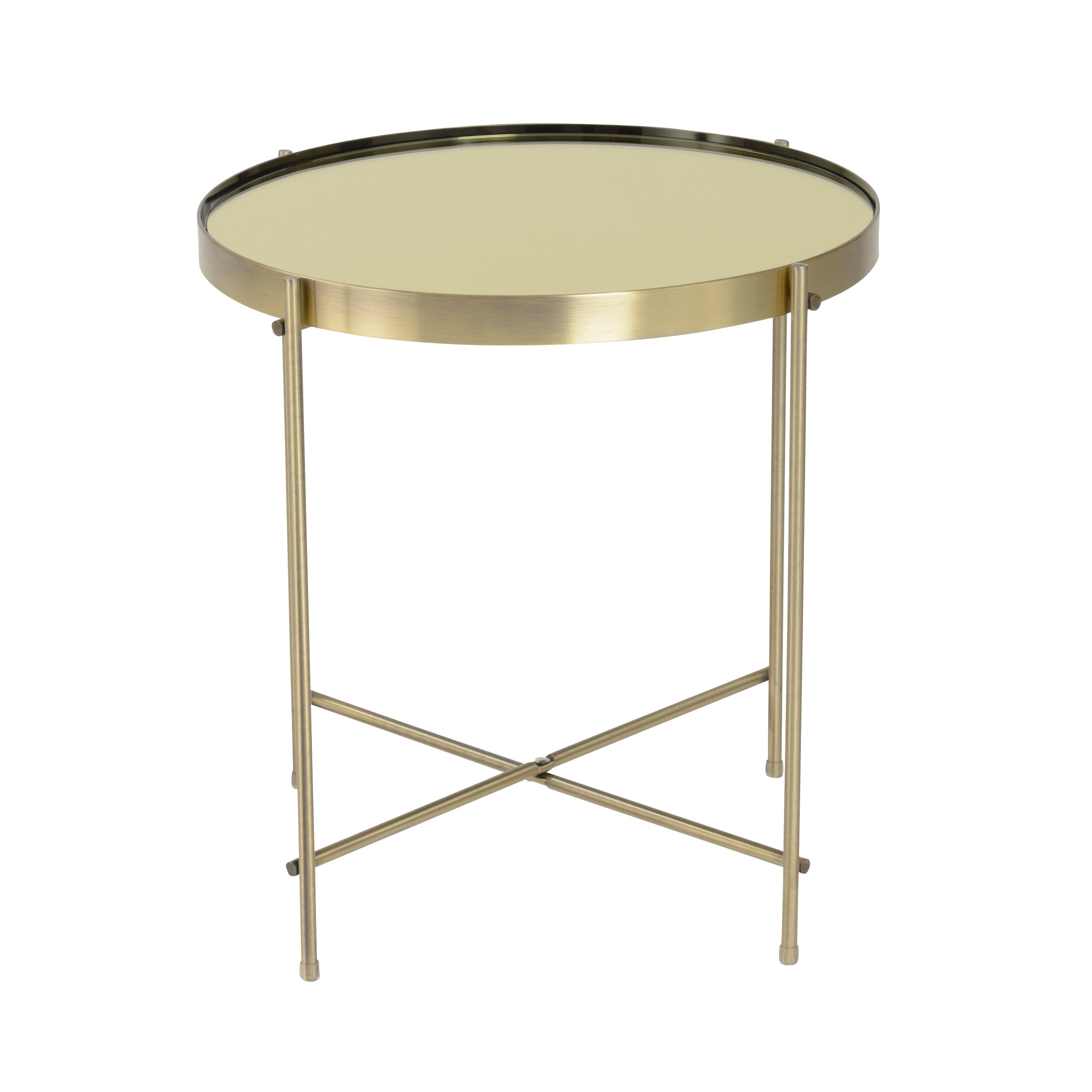 Shop Euro Style Trinity Round Mirrortop Brushedbrass Side Table - Brushed brass side table