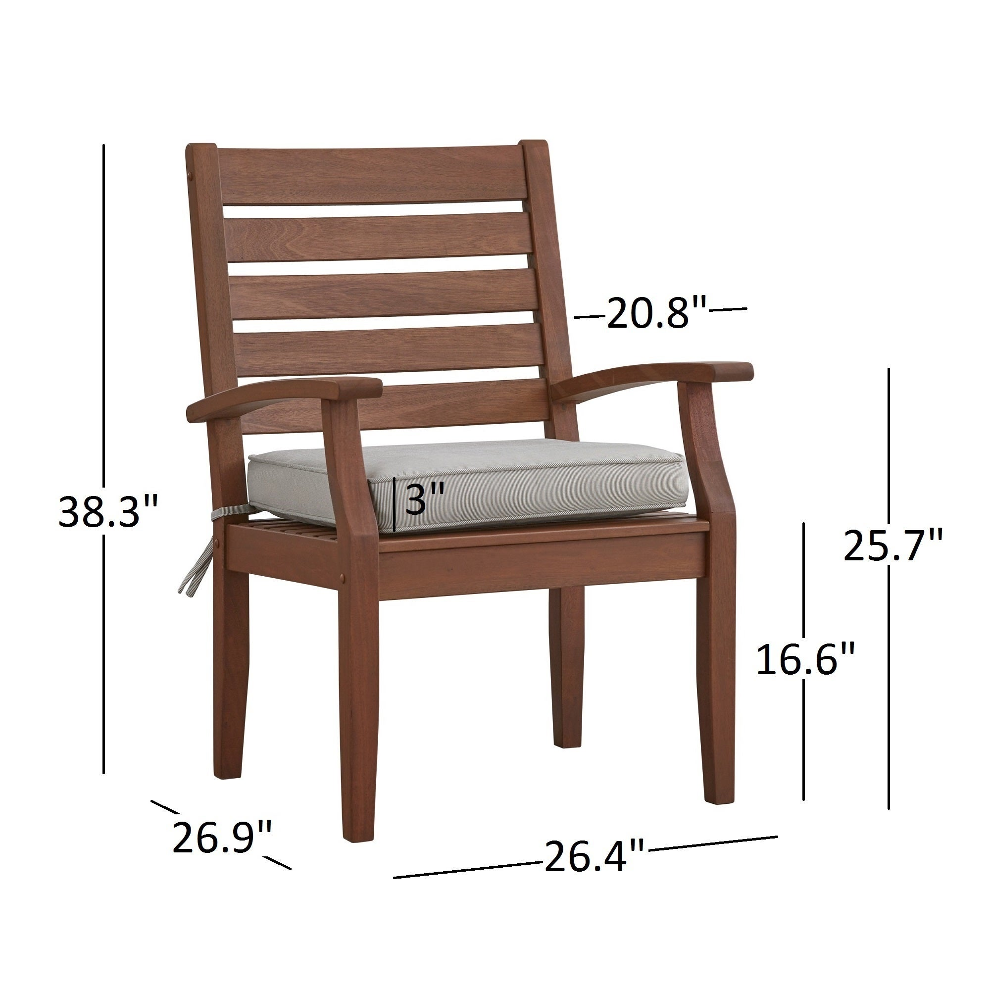 Yasawa Modern Wood Outdoor Cushioned Dining Arm Chair Set Of 2 By Inspire Q Oasis Free Shipping Today 13029323