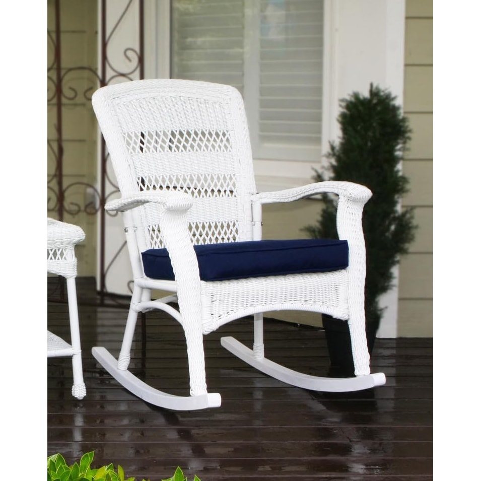 Shop Copper Grove Uinta Coastal White Resin Wicker Outdoor Plantation Rocking  Chair And Table Set (Pack Of 3)   Free Shipping Today   Overstock.com   ...