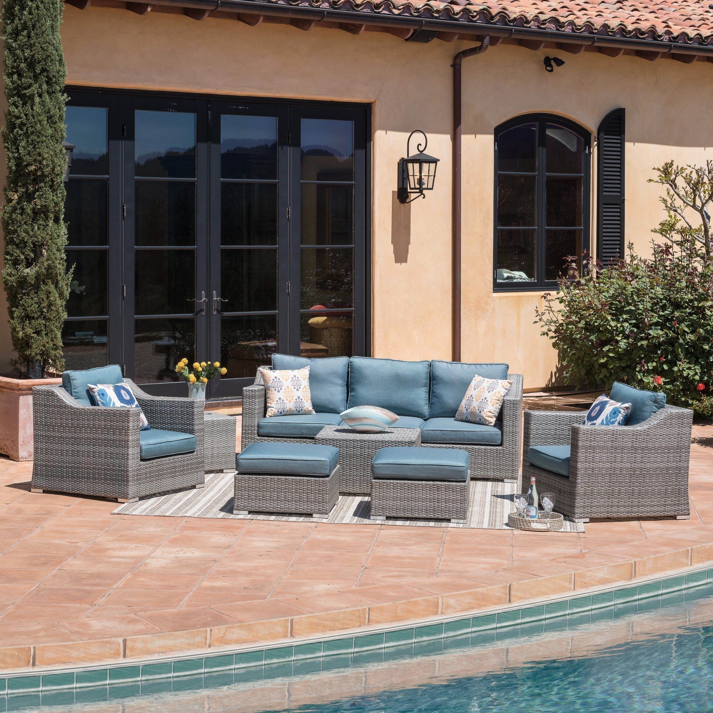 Corvus martinka 9 piece grey wicker patio furniture set with cushions