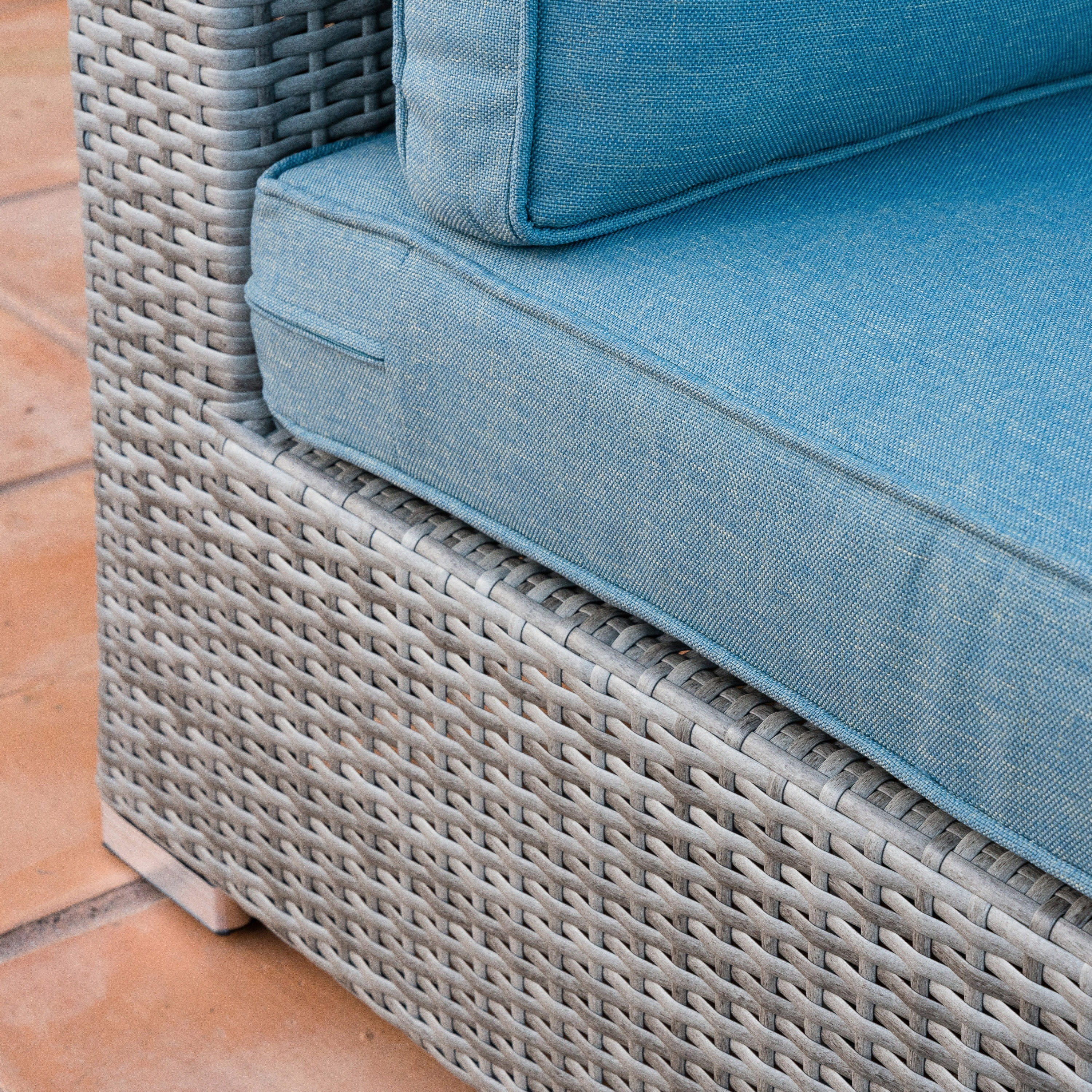 Shop Corvus Martinka 11 Piece Grey Wicker Outdoor Sectional Furniture Set  With Blue Cushions   Free Shipping Today   Overstock.com   13036933