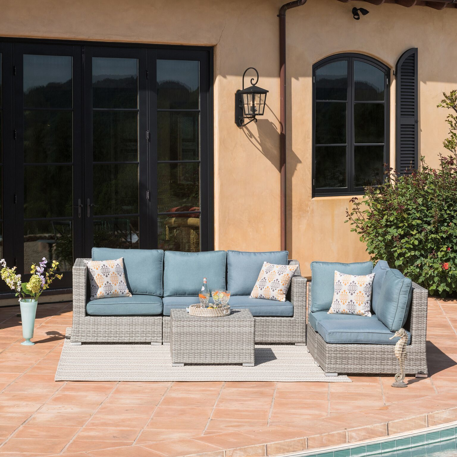 Corvus Martinka 6 Piece Grey Wicker Outdoor Furniture Set On Ships To Canada Ca 13037013