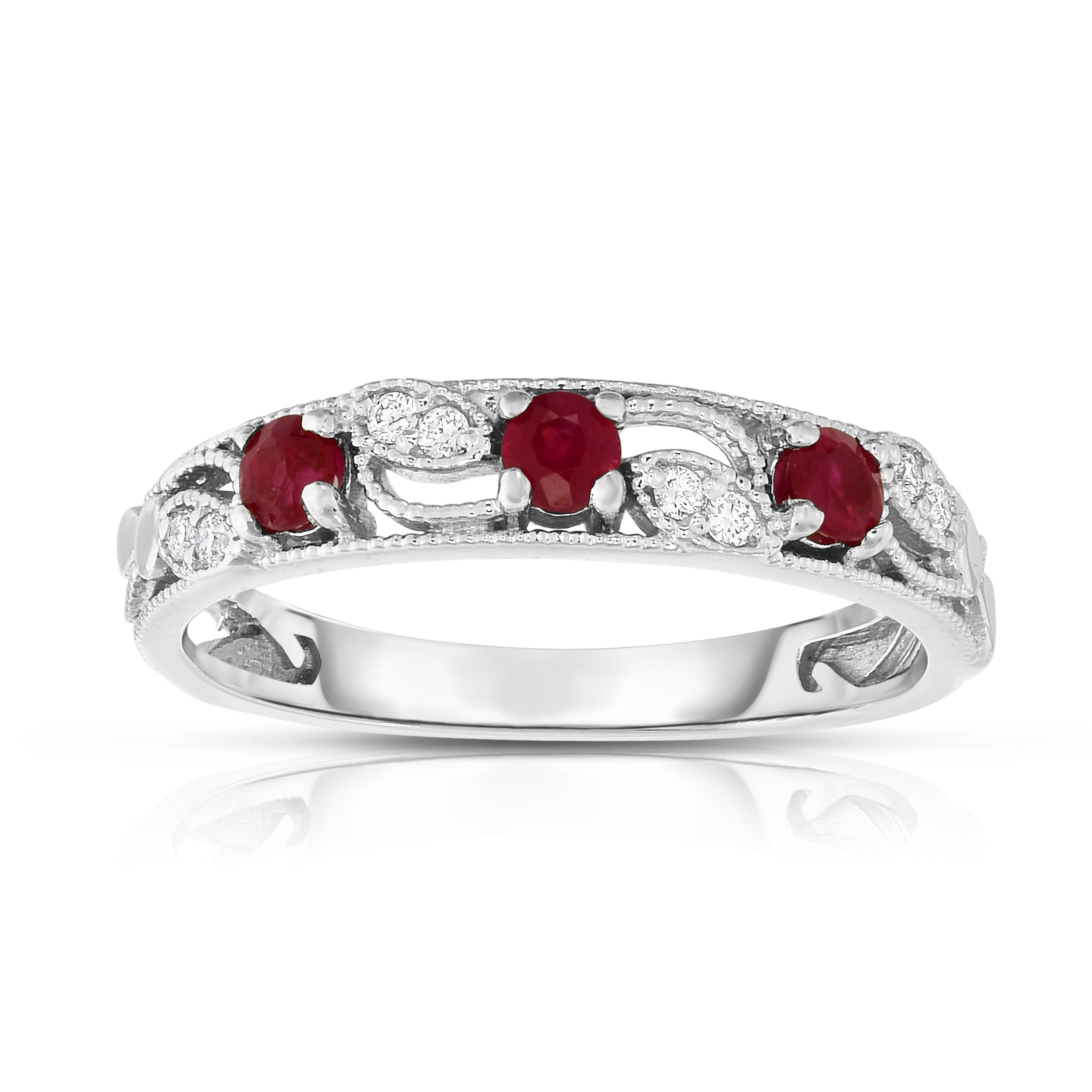 white wide gold diamond oval row ruby uneek in three and band round