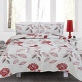 Jenna Red Floral 3 Piece Quilt Set