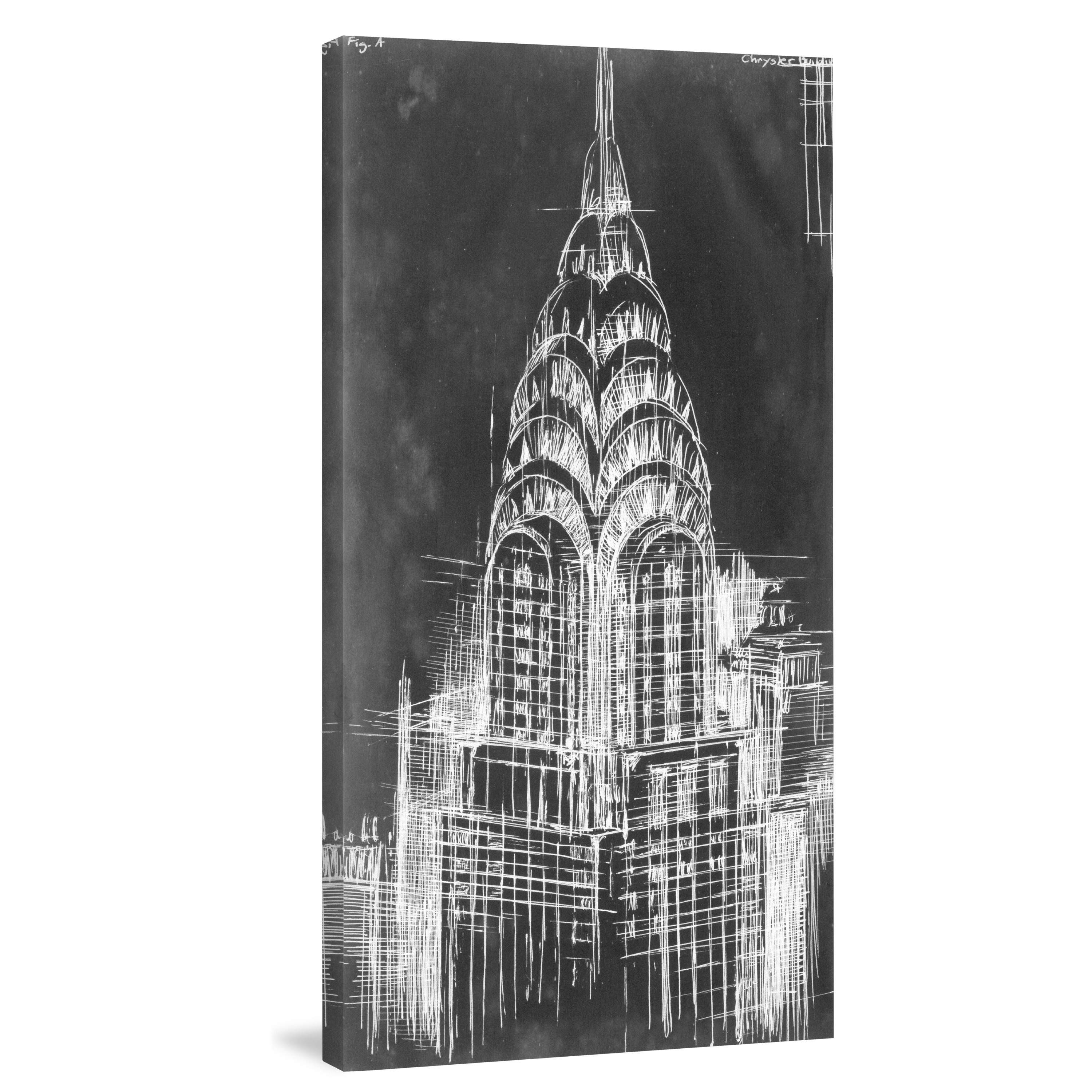 Shop Marmont Hill - \'Chrysler Blueprint\' Painting Print on Wrapped ...