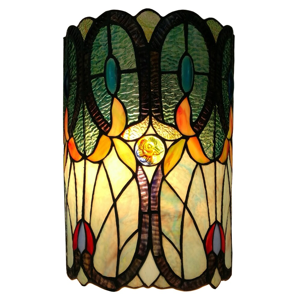 Shop Amora Lighting Tiffany-style, Double-light Floral Wall Sconce ...
