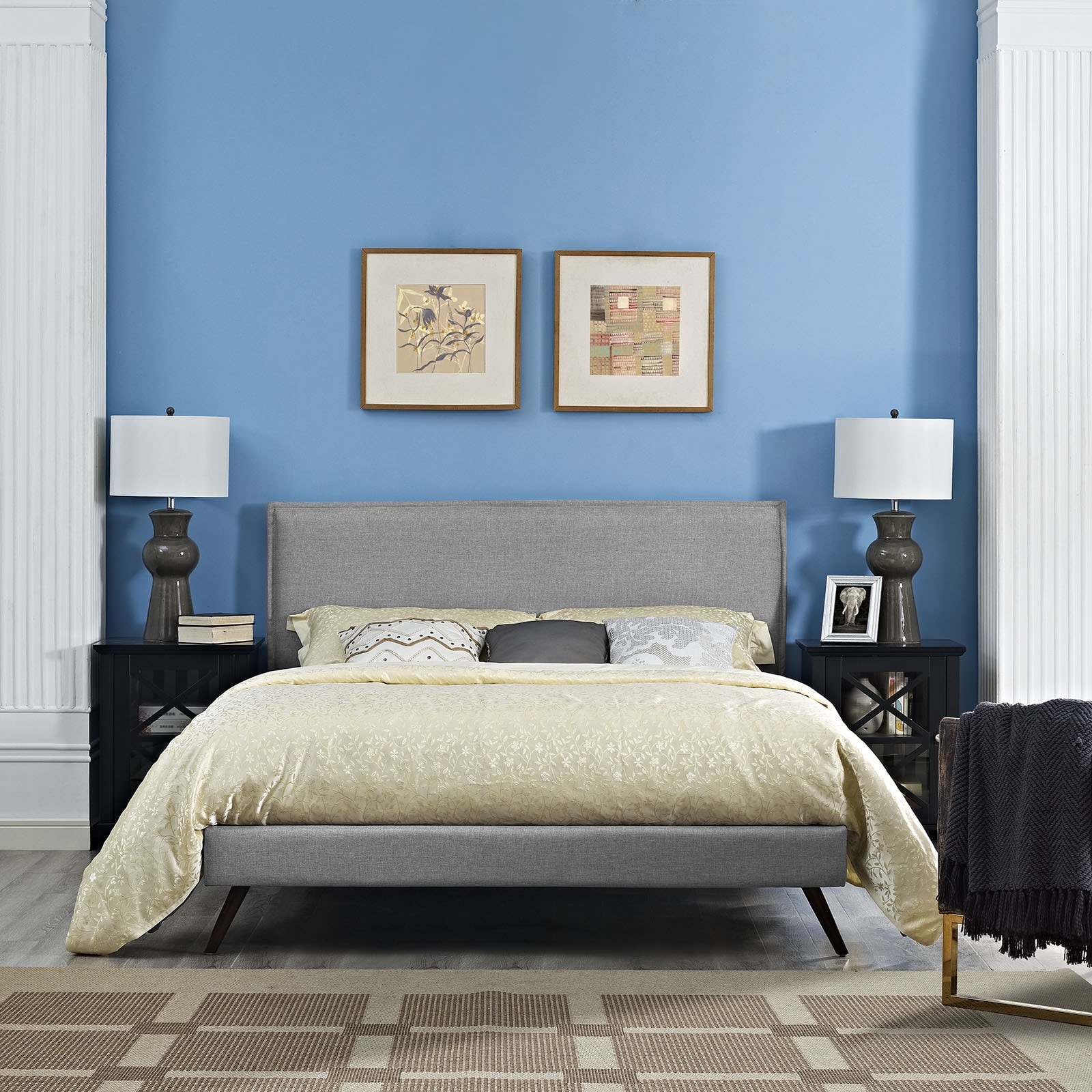 Shop Modway Camille Light Grey Fabric Platform Bed with Round ...