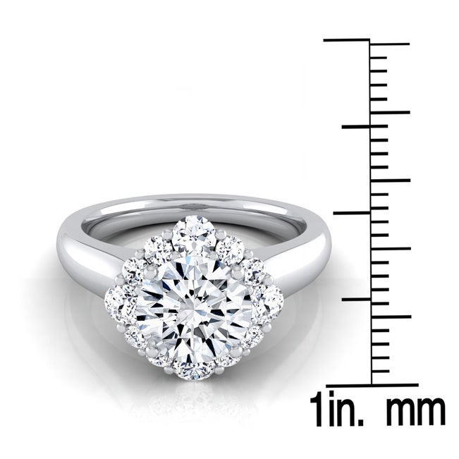 14k White Gold 1 12ct TDW Round Diamond Compass Point Halo