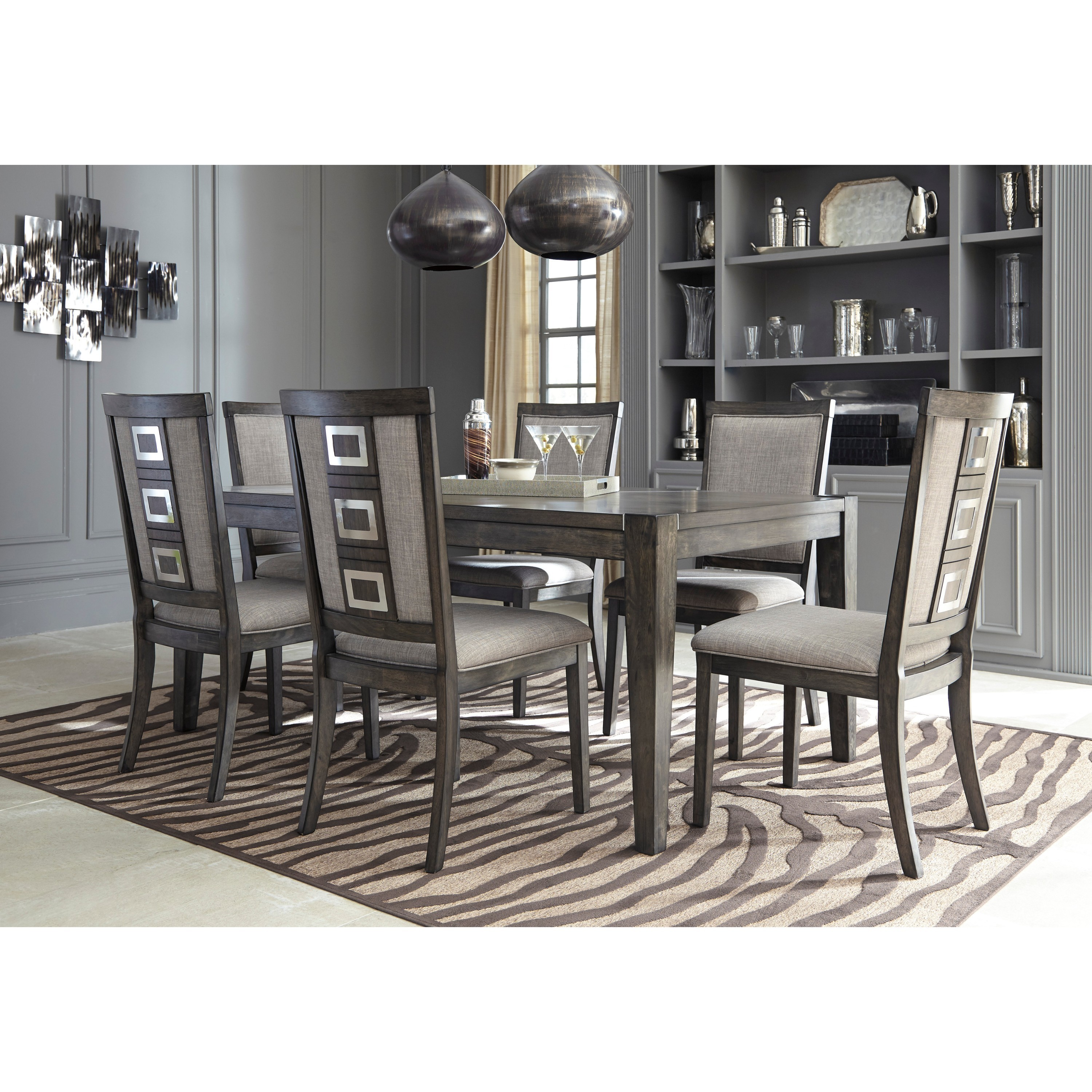 Signature Design By Ashley Chadoni Gray Dining Room Table With Chairs Set Overstock 13046762